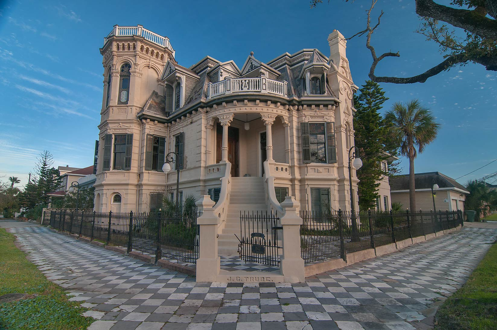 Trube Castle (1890) at 1627 Sealy St., a corner of 17th St. at evening. Galveston, Texas