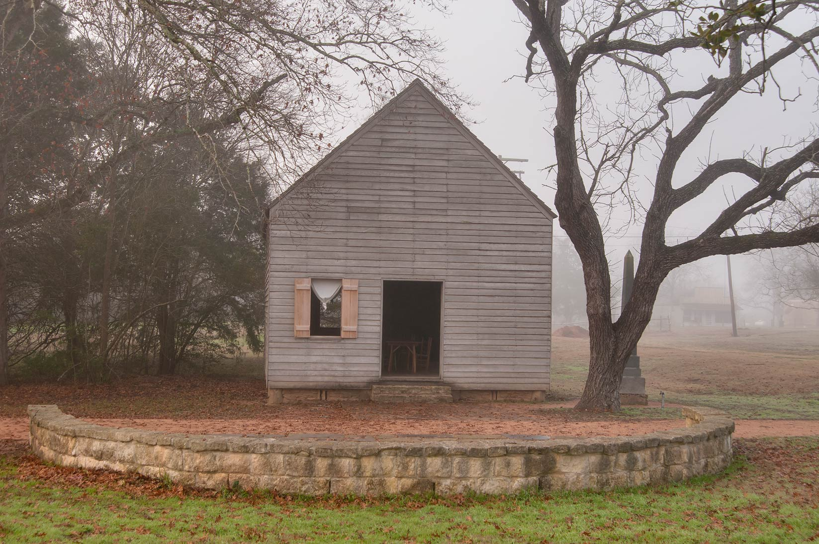 Independence Hall in fog in Washington-on-the...State Historic Site. Washington, Texas