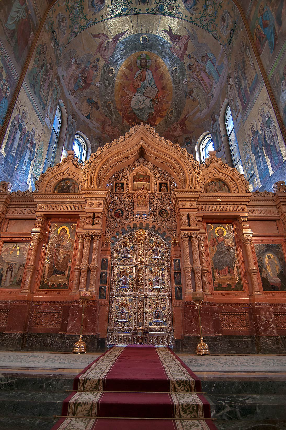 Central altar of Church of Savior on Blood. St.Petersburg, Russia