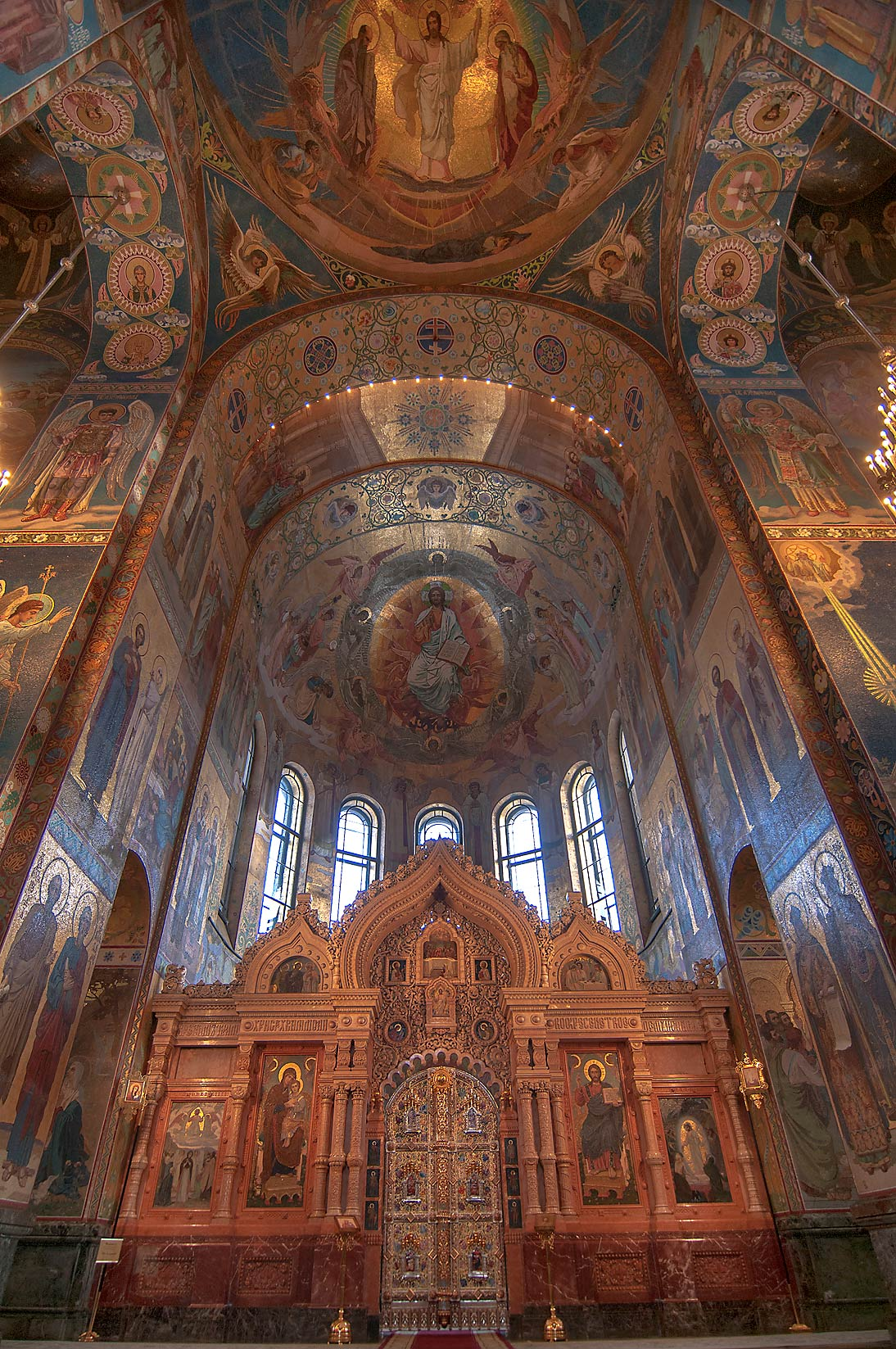 Vault over a central altar of Church of Savior on Blood. St.Petersburg, Russia