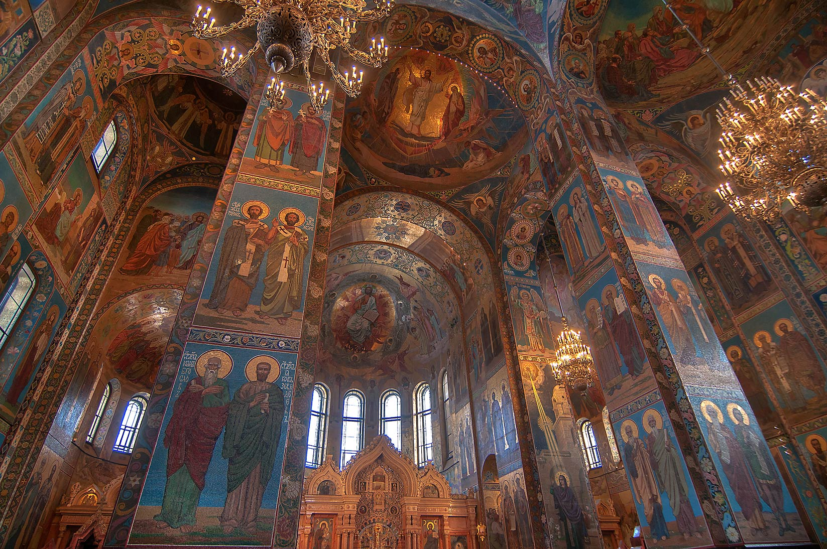 Mosaic walls of Church of Savior on Blood. St.Petersburg, Russia