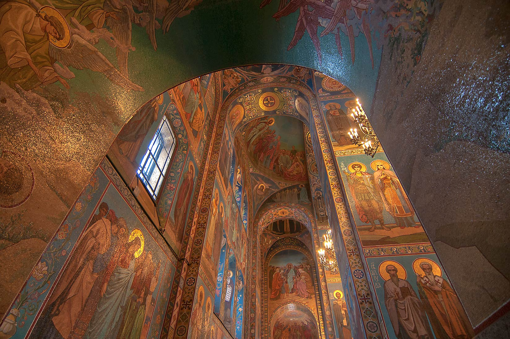 Arched galleries of Church of Savior on Blood. St.Petersburg, Russia