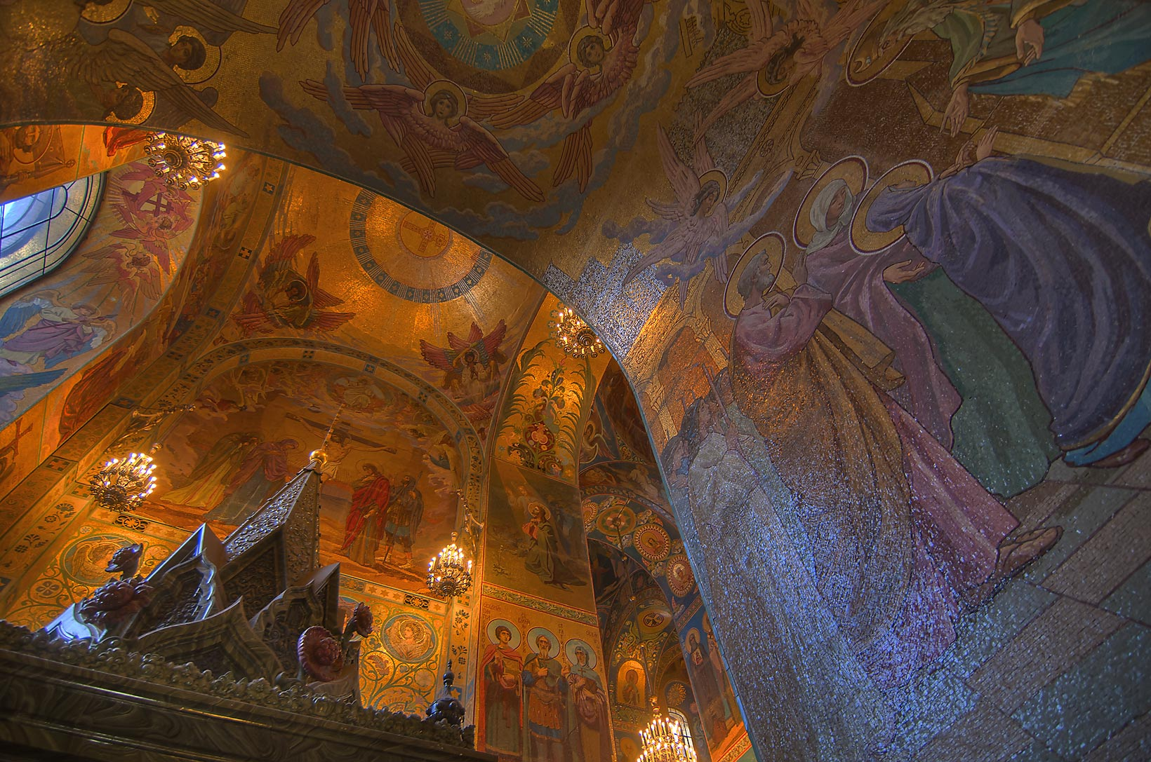 Gilded decorations of Church of Savior on Blood. St.Petersburg, Russia