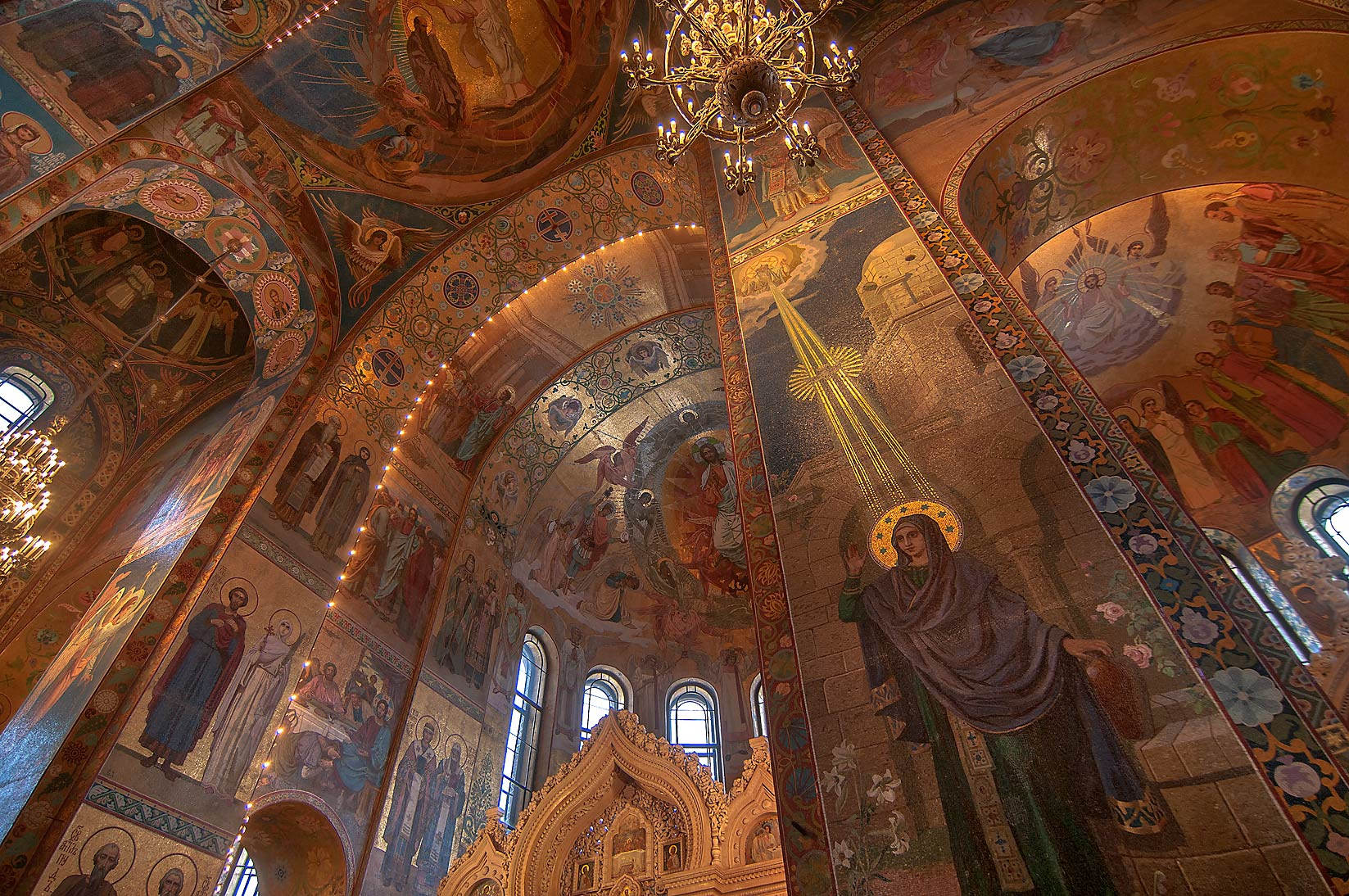 Decorated columns of Church of Savior on Blood. St.Petersburg, Russia