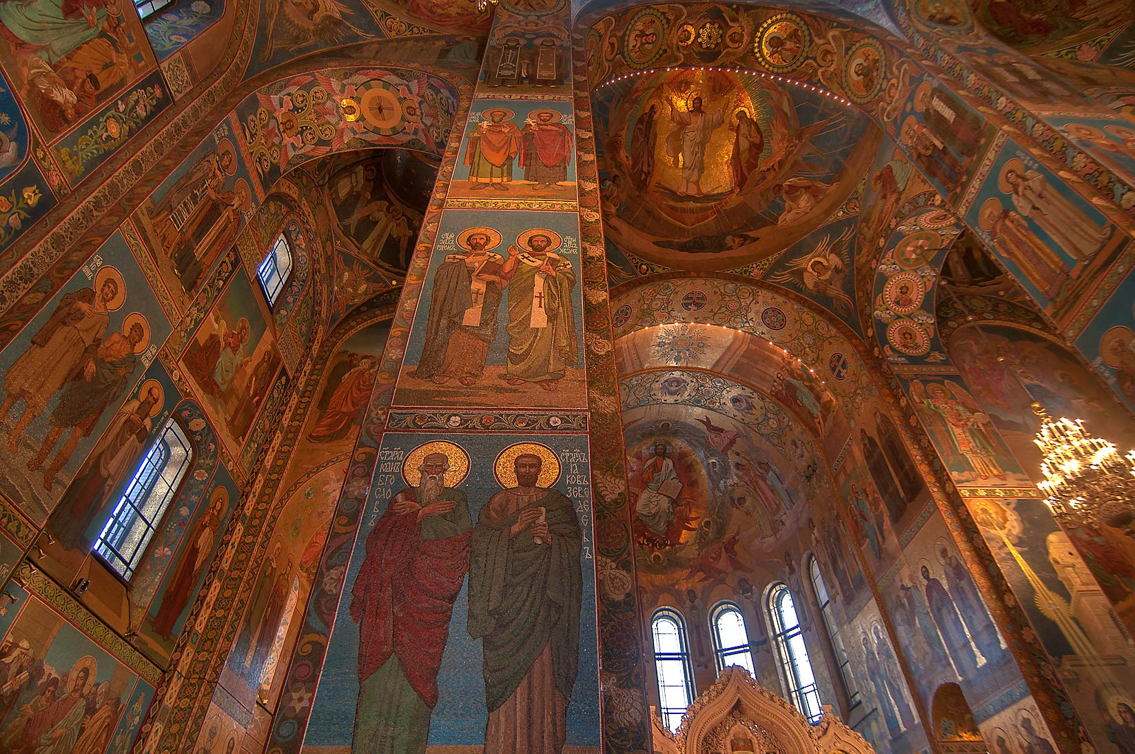 Arched ceiling of Church of Savior on Blood. St.Petersburg, Russia