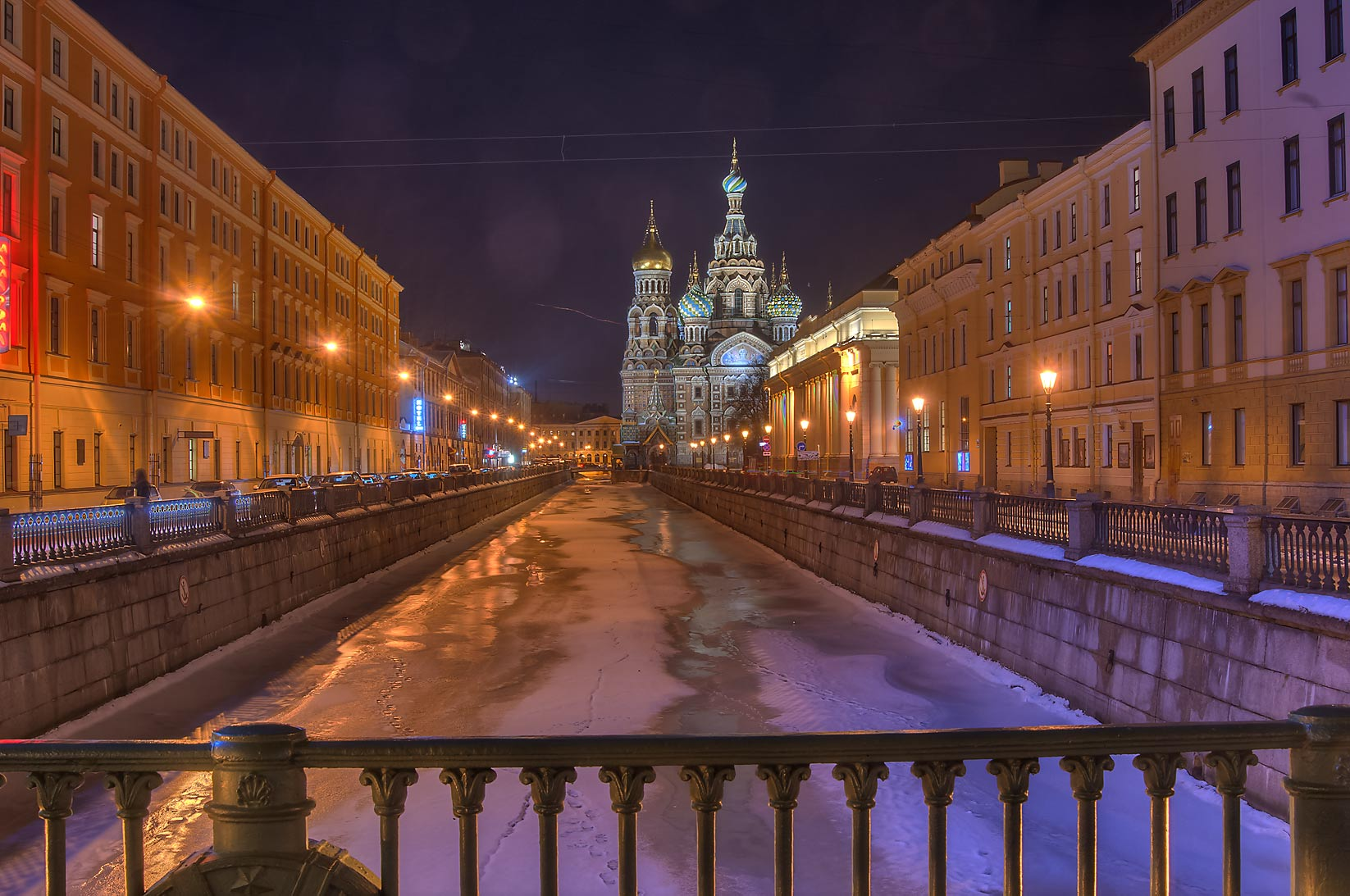 Church of Savior on Blood from a foot bridge...Canal. St.Petersburg, Russia
