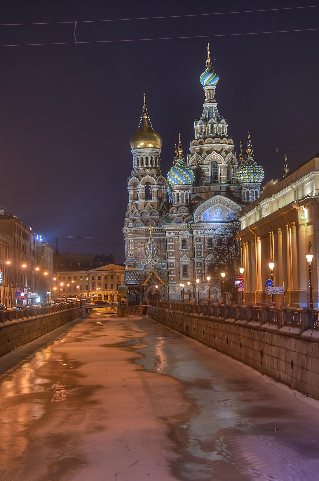 Church of Savior on Blood from Griboedova Canal at evening. St.Petersburg, Russia