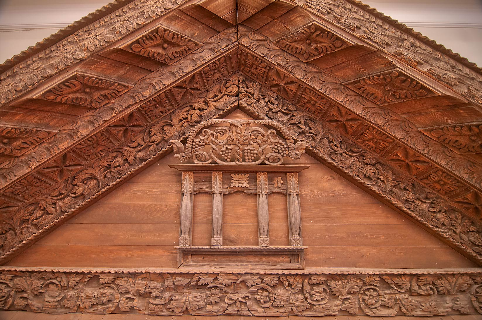 Crafted wooden roof in Russian Museum. St.Petersburg, Russia
