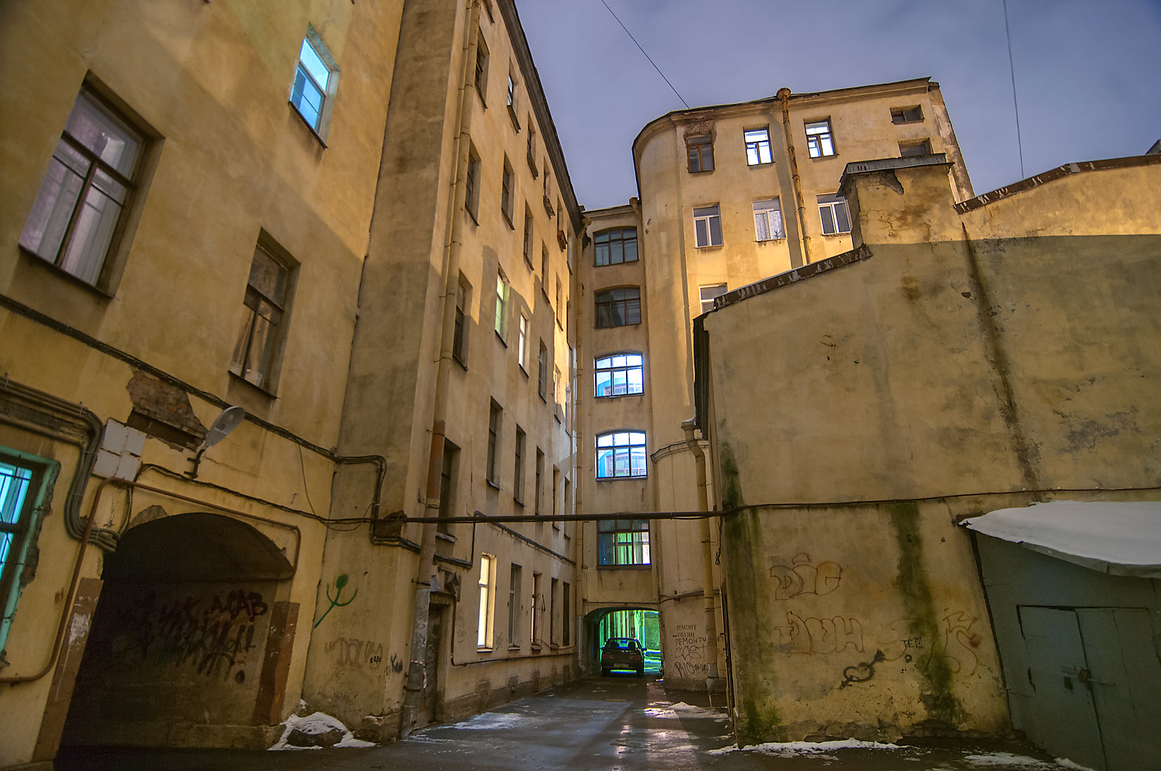 Passage between yards in Sementsy area. St.Petersburg, Russia