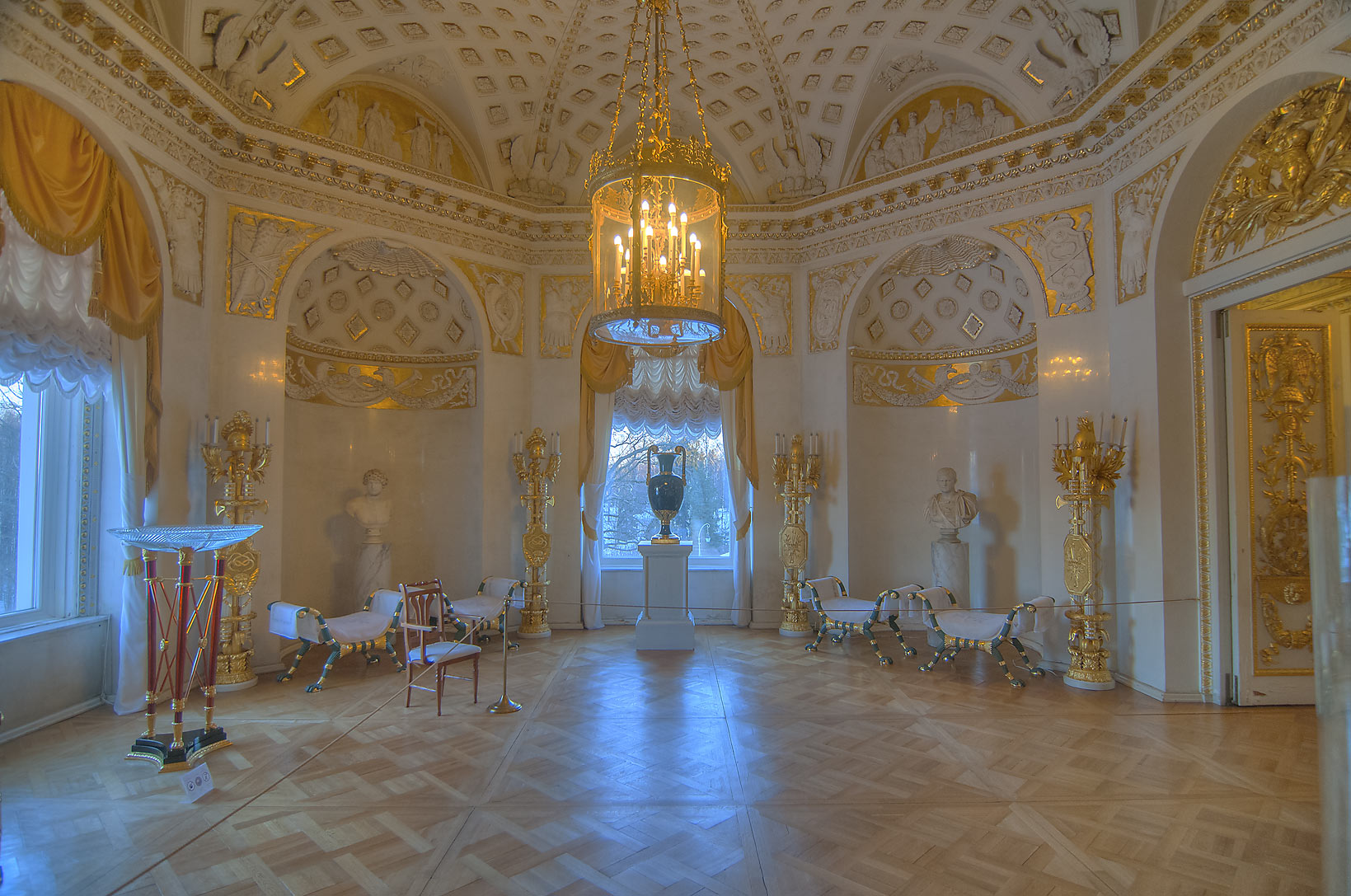 Round corner room in Pavlovsky Palace. Pavlovsk, a suburb of St.Petersburg, Russia