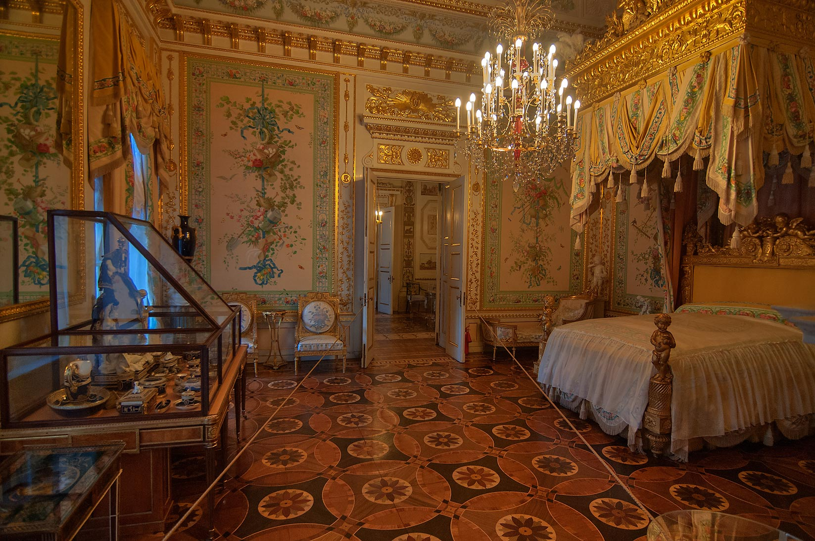 Decorated bedroom in Pavlovsky Palace. Pavlovsk, a suburb of St.Petersburg, Russia