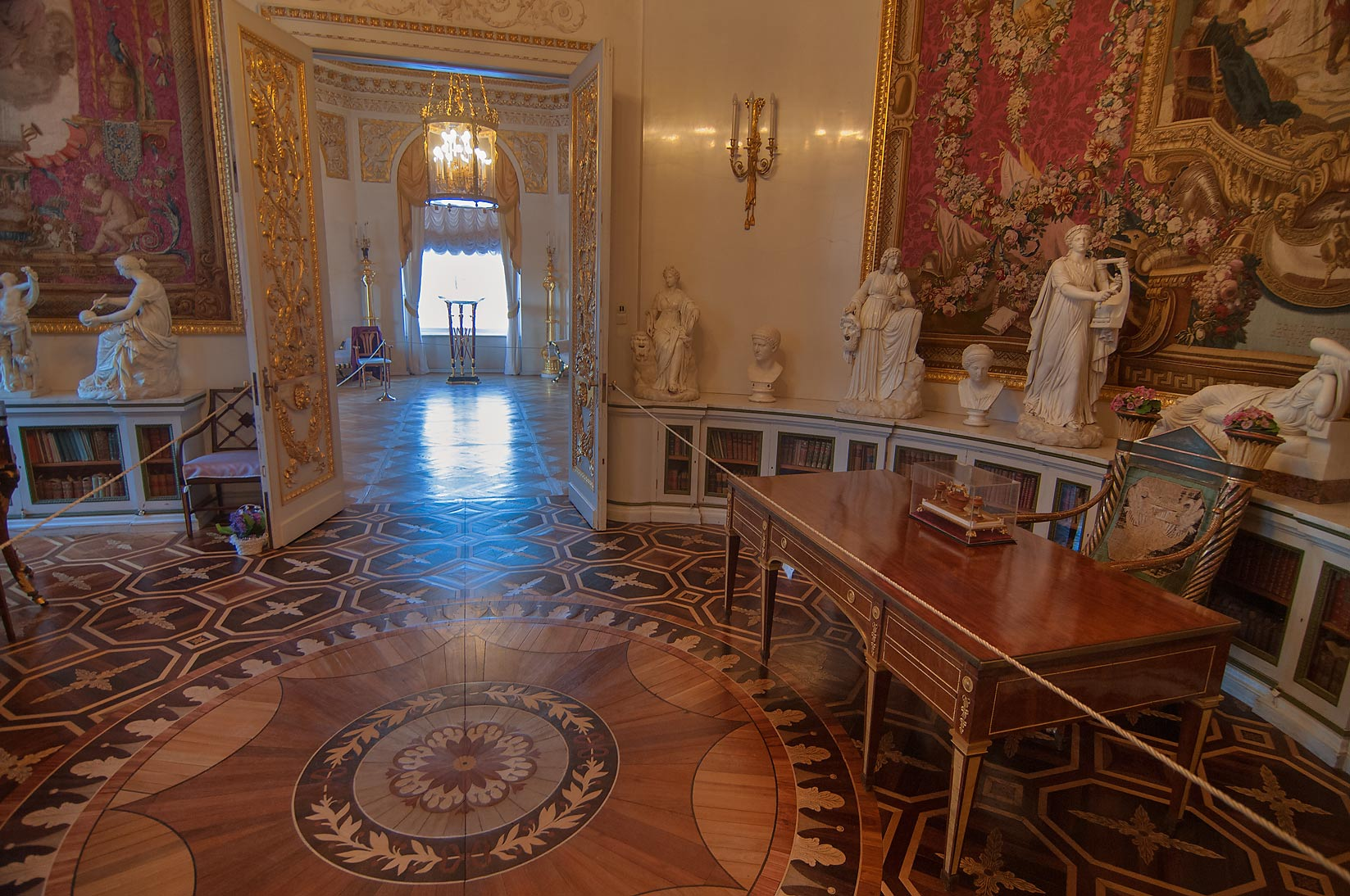 Parquet floor and sculptures in Pavlovsky Palace...a suburb of St.Petersburg, Russia