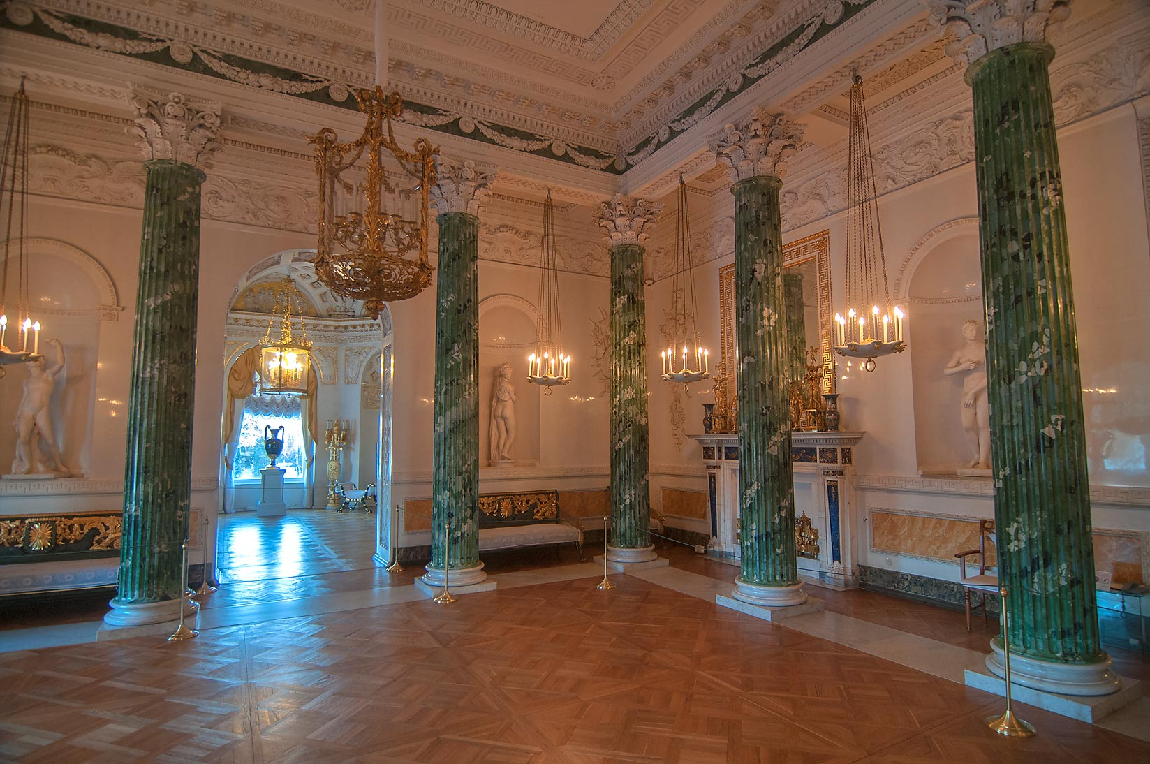 Hall with green columns in Pavlovsky Palace. Pavlovsk, a suburb of St.Petersburg, Russia