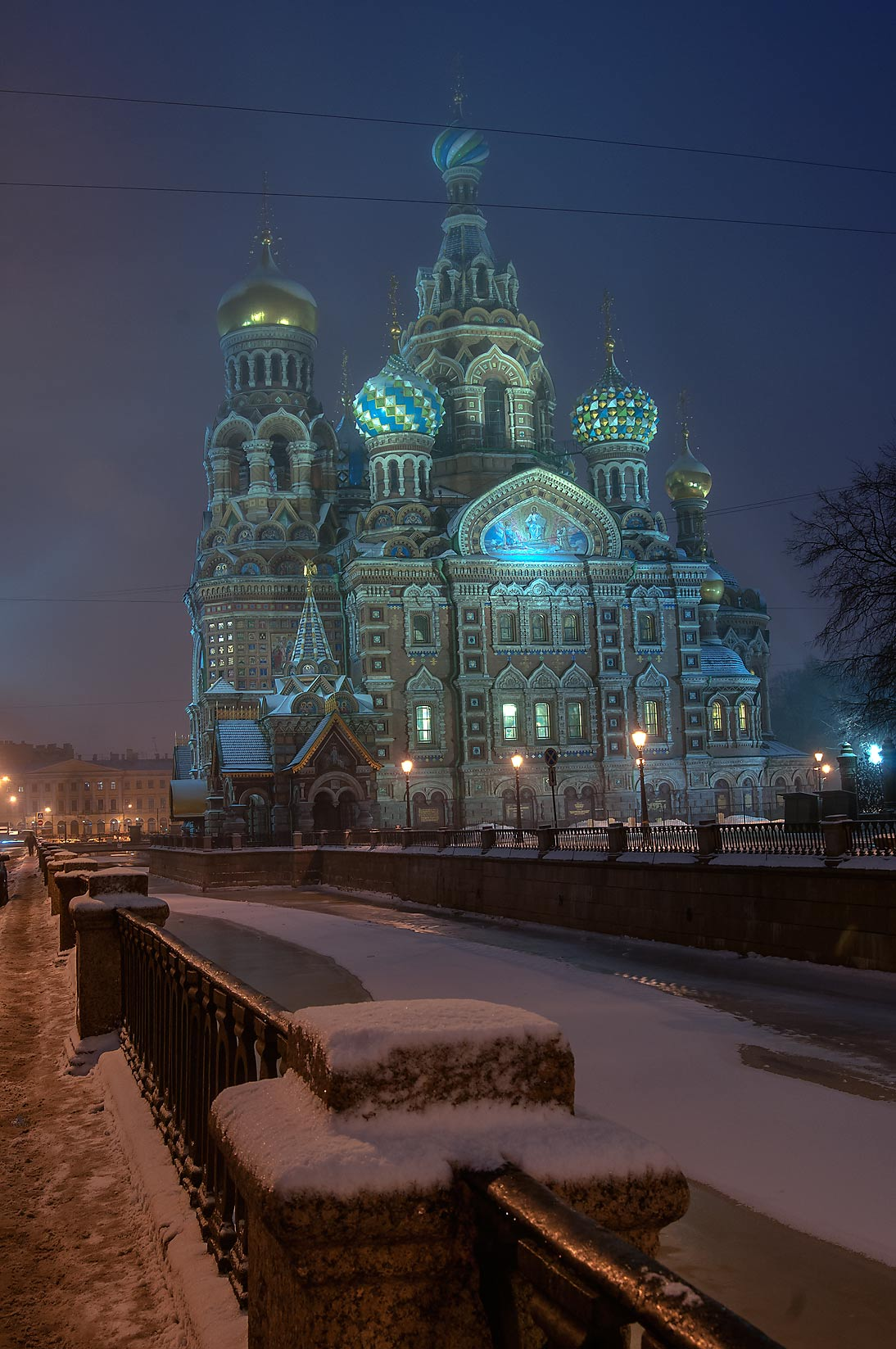 Church of Savior on Blood from Griboedova Canal at morning. St.Petersburg, Russia