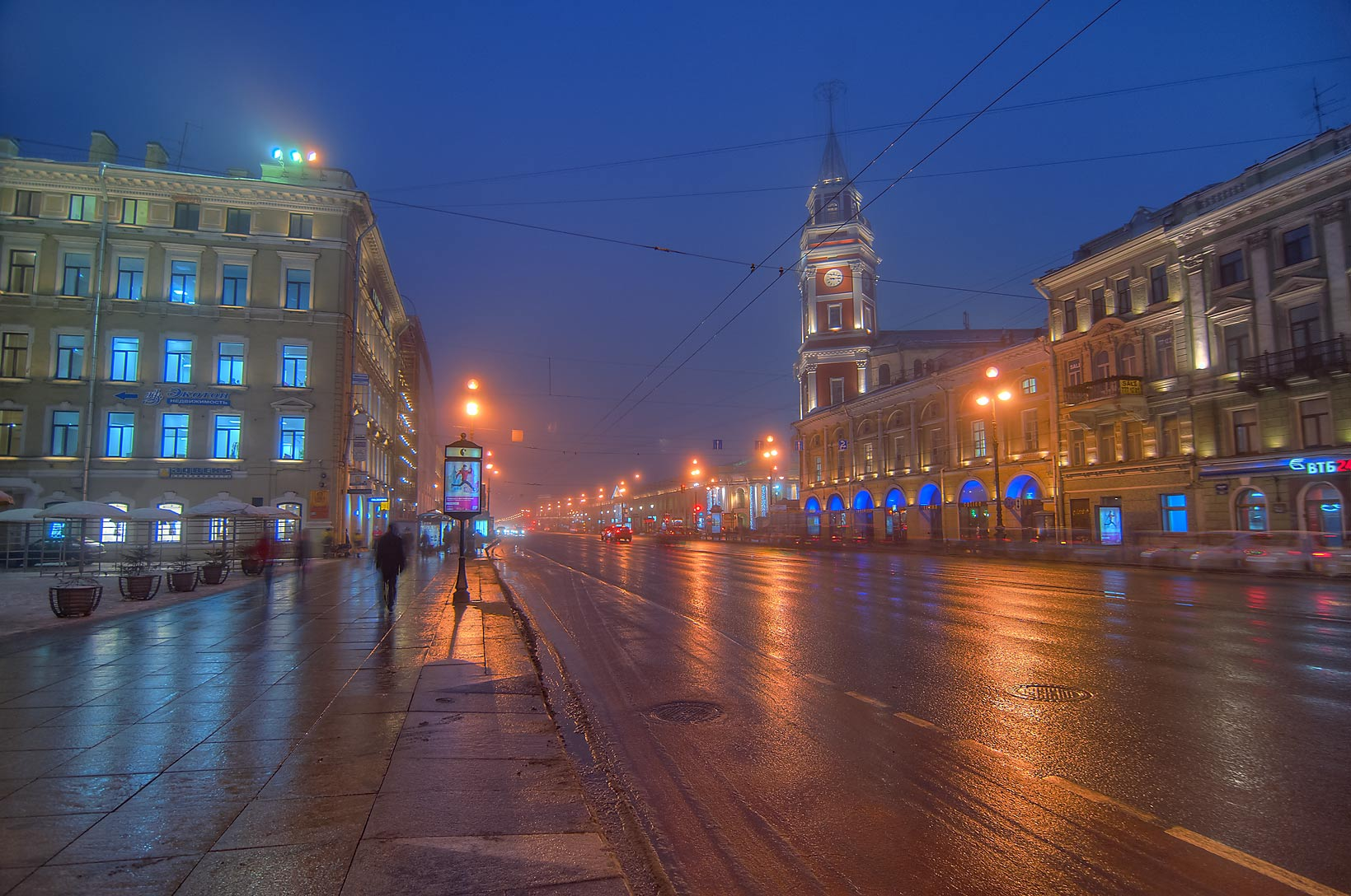 Nevsky Prospect near Duma at morning. St.Petersburg, Russia