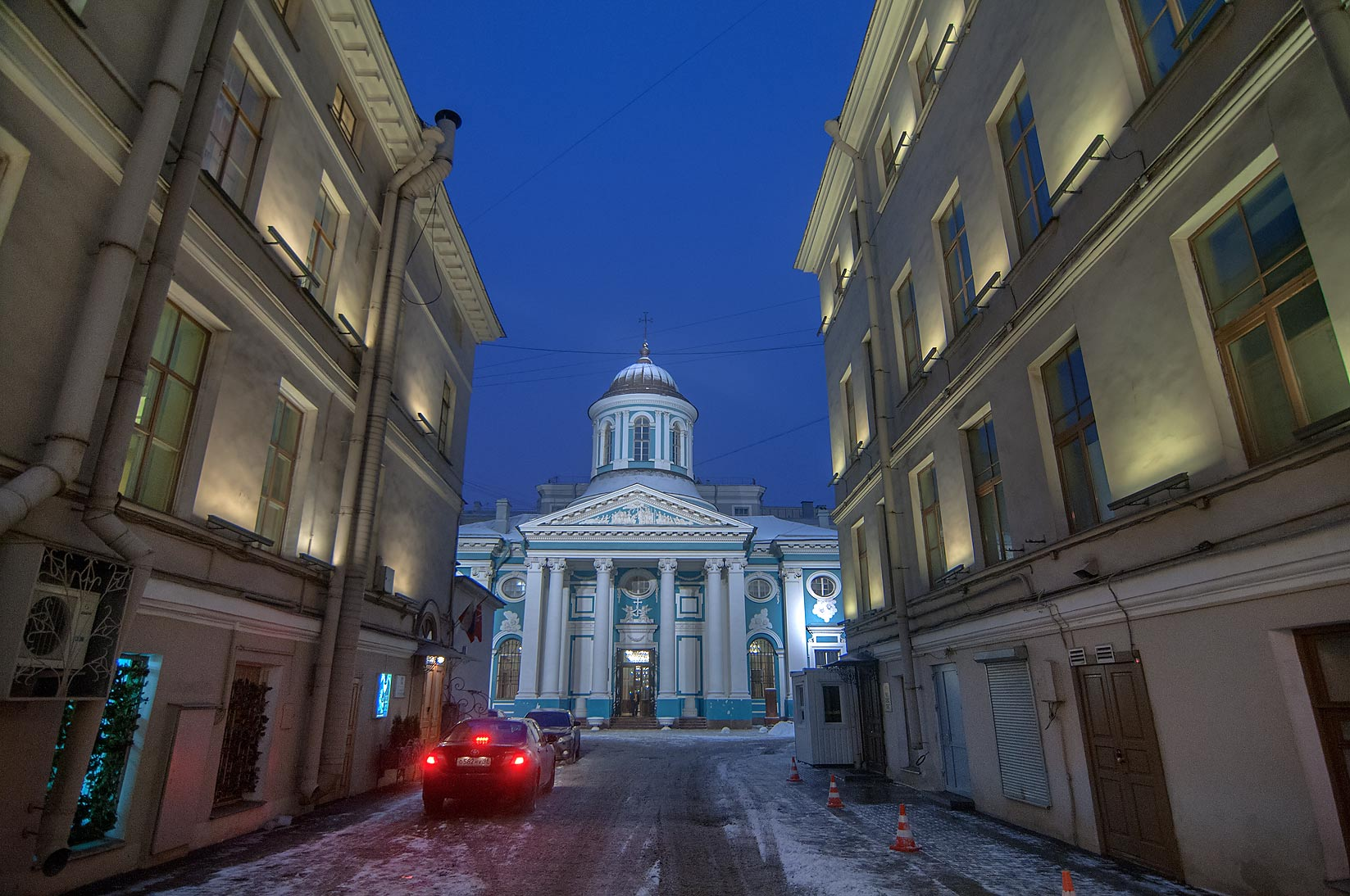 Blue church on Nevsky Prospect. St.Petersburg, Russia