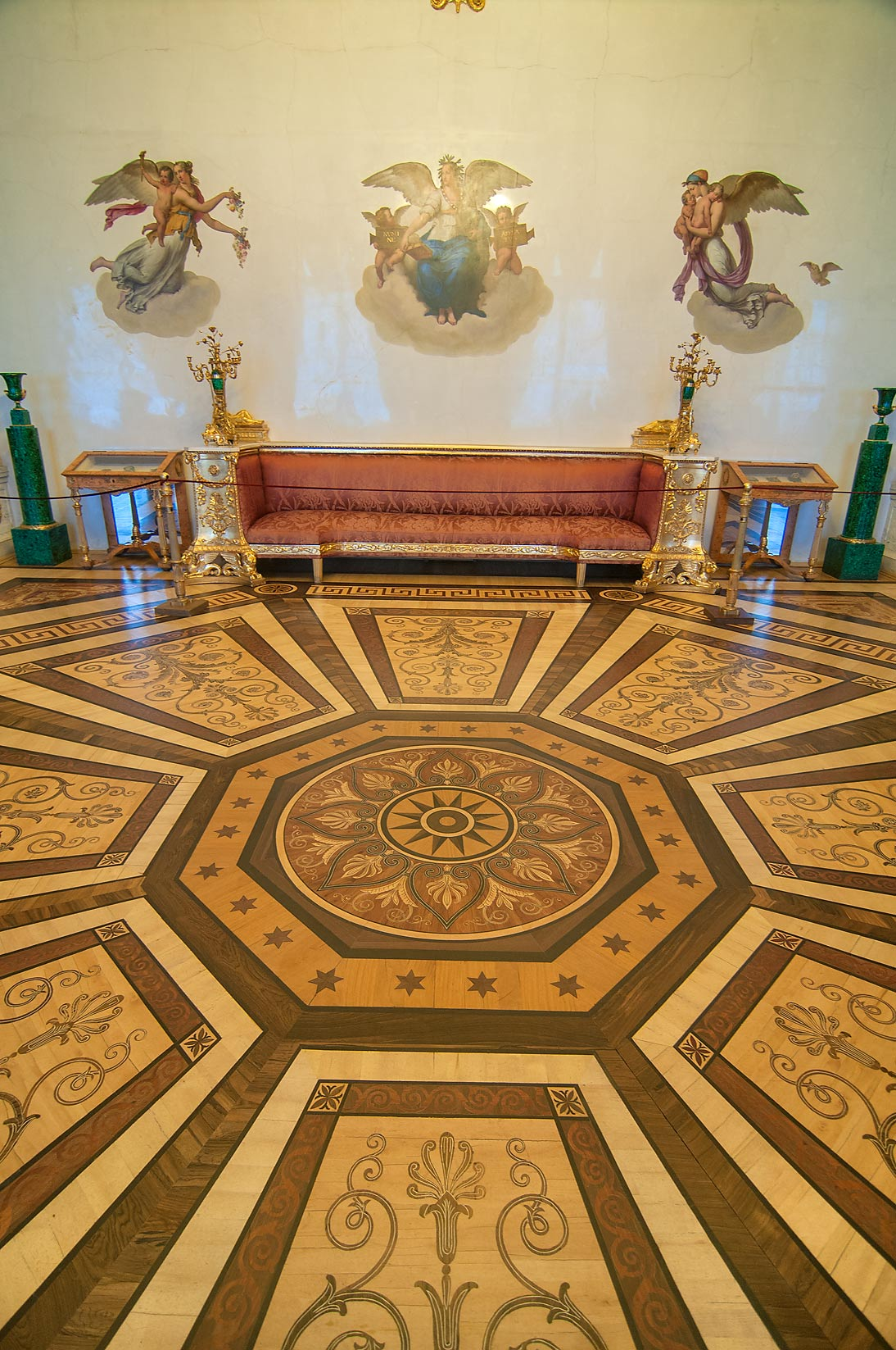 Parquet of Malachite Room in Hermitage Museum. St.Petersburg, Russia