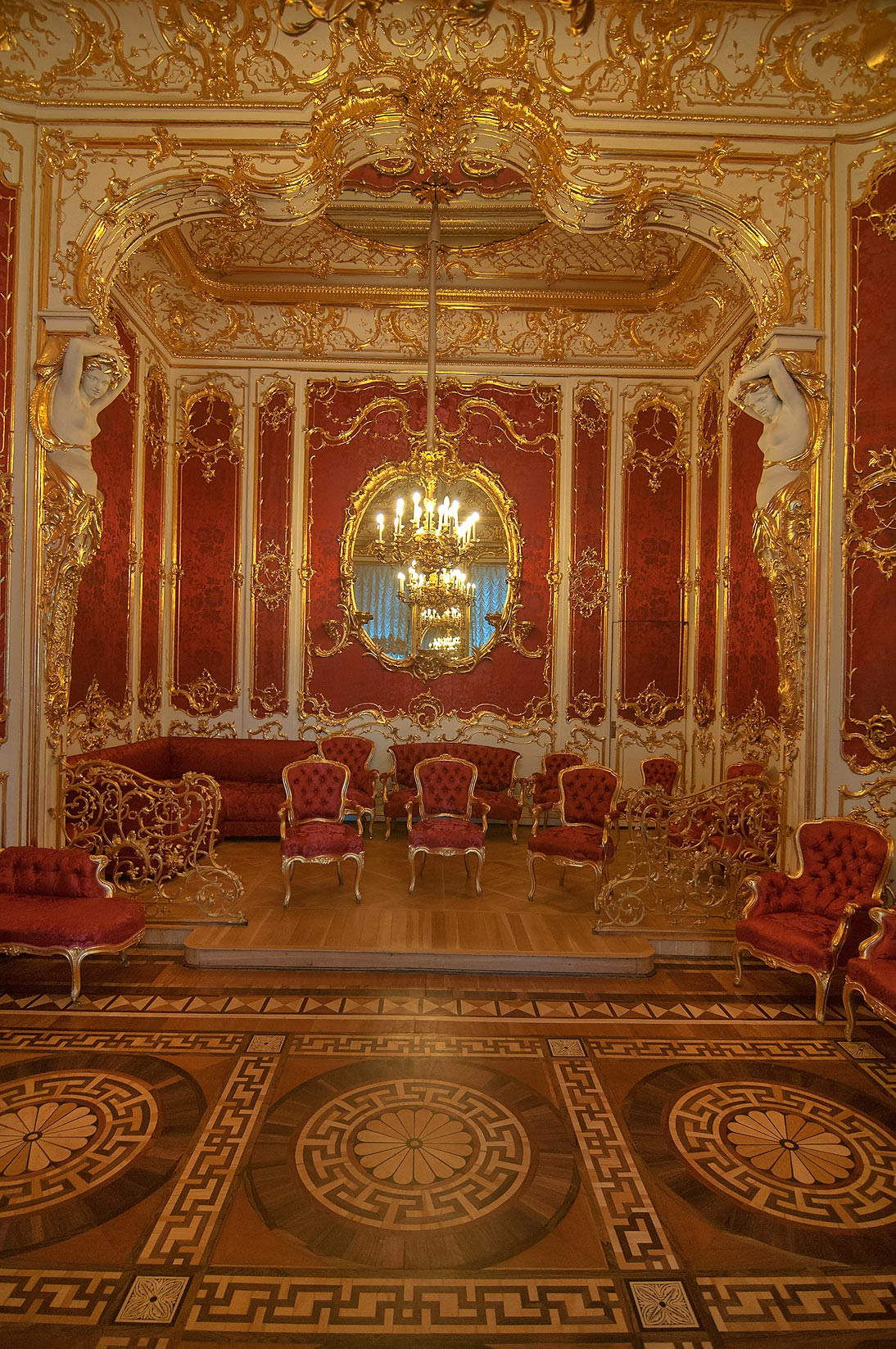 Decorations of crimson room in hermitage museum . saint petersburg