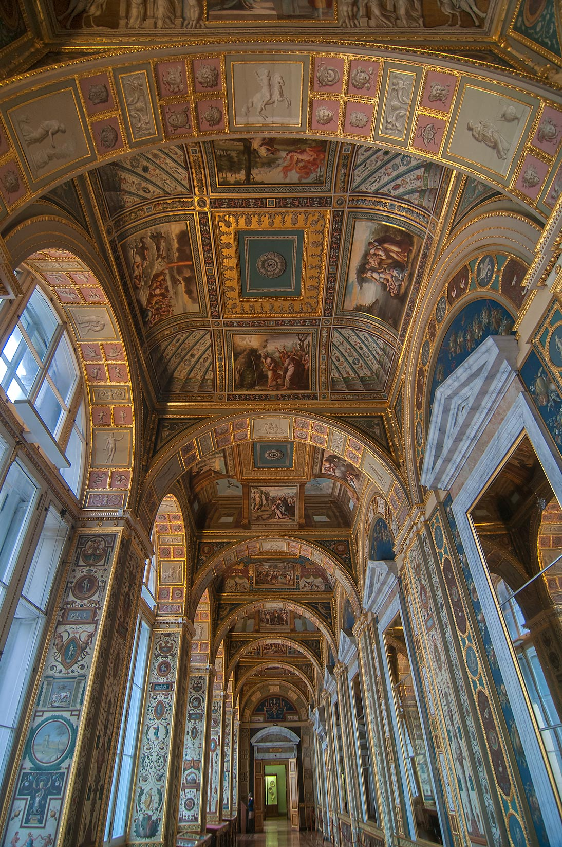Arches of Raphael Loggias (a copy) in Hermitage Museum. St.Petersburg, Russia