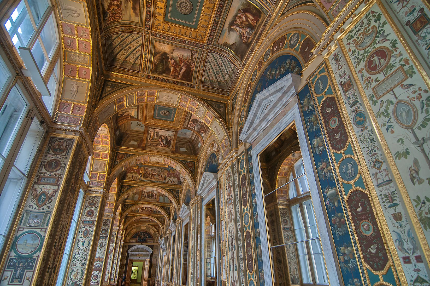 Vaults of Raphael Loggias (a copy) in Hermitage Museum. St.Petersburg, Russia