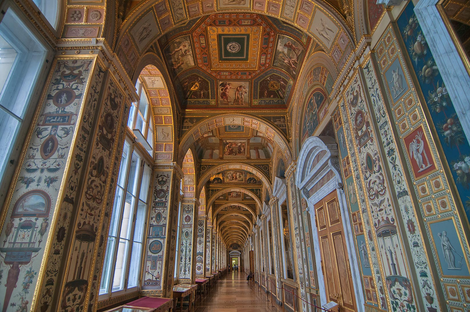 Corridor of Raphael Loggias (a copy) in Hermitage Museum. St.Petersburg, Russia