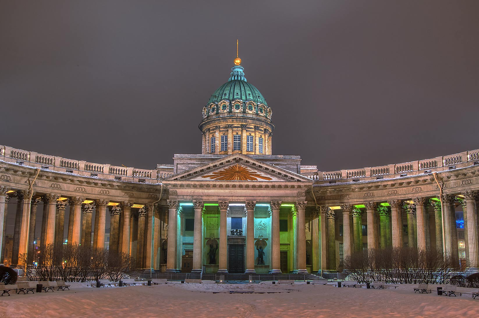 Kazansky Sobor (Cathedral of Our Lady of Kazan...at evening. St.Petersburg, Russia
