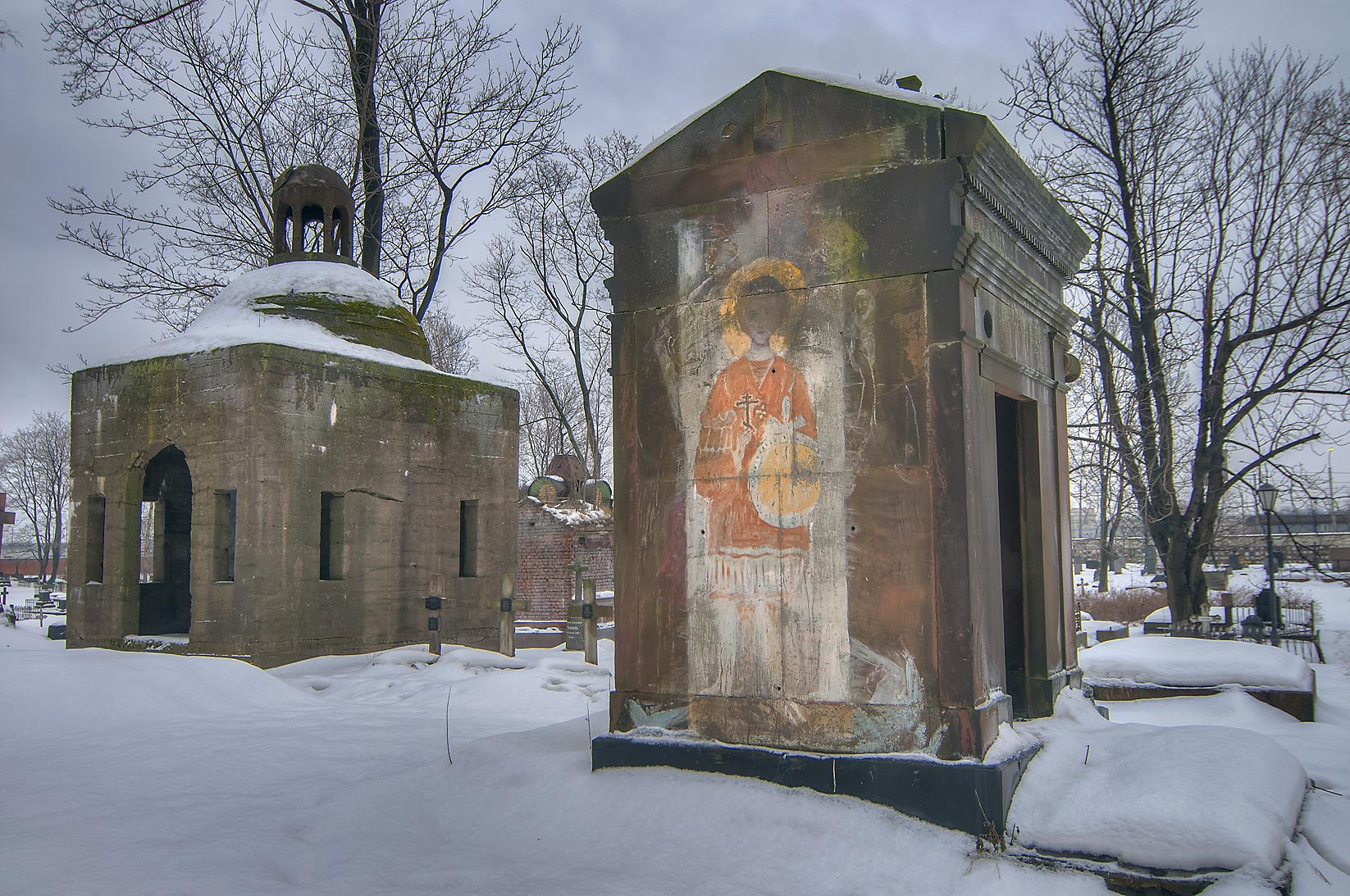 Old crypts of Nikolskoe Cemetery of Alexander Nevsky Lavra. St.Petersburg, Russia
