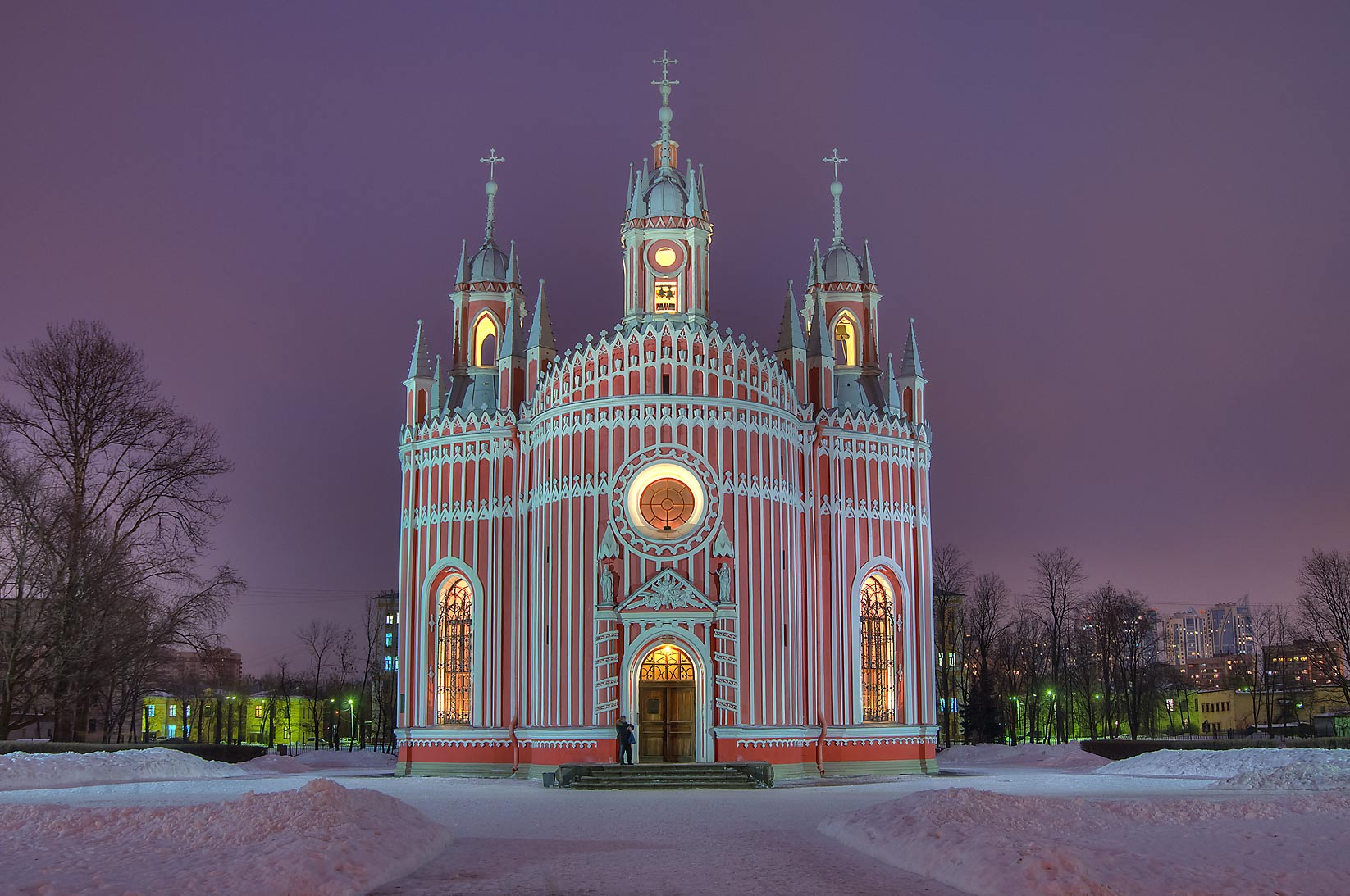 Chesma Church at evening. St.Petersburg, Russia