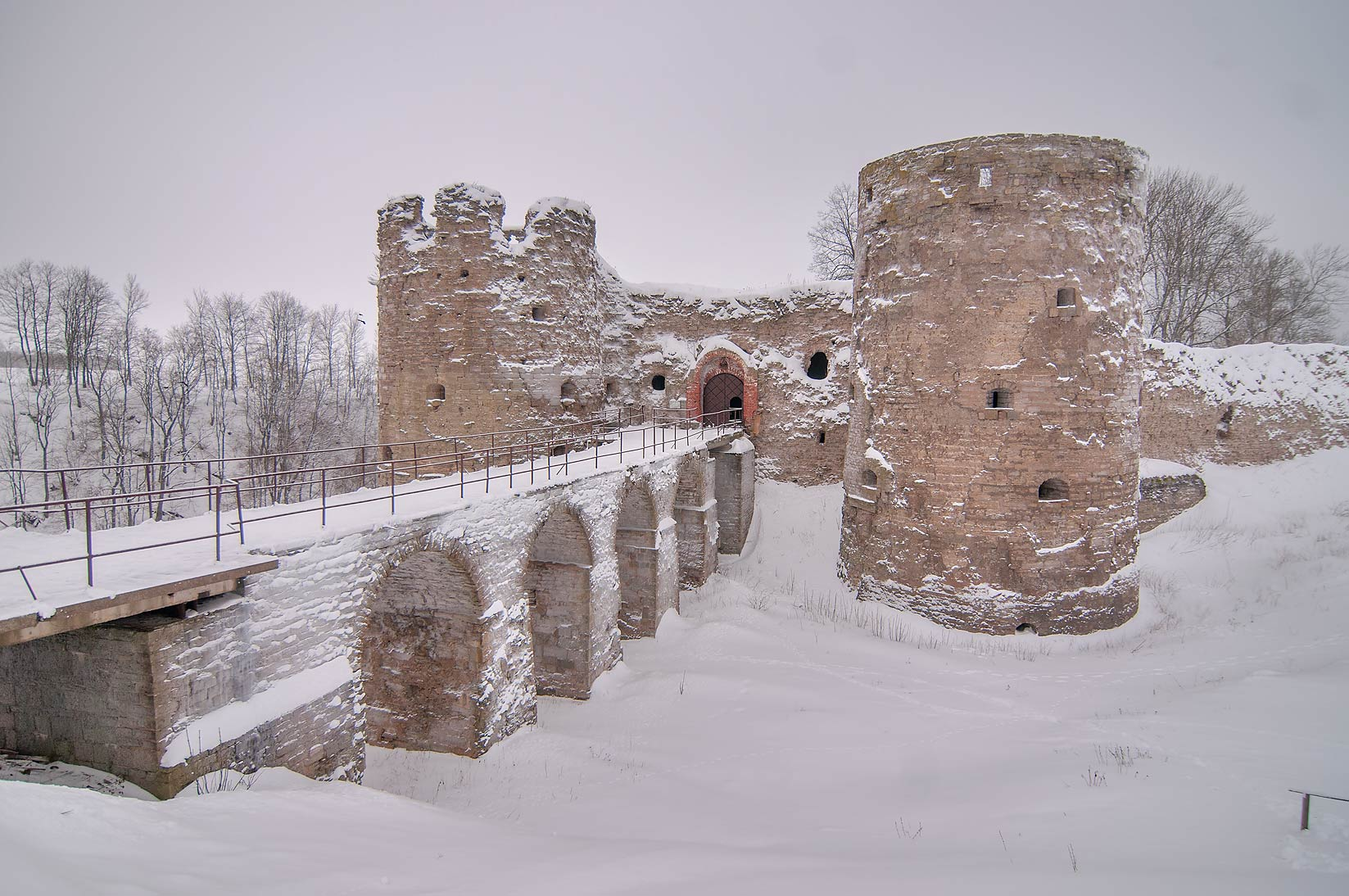 Koporye Fortress in snow. Leningrad Region, Russia
