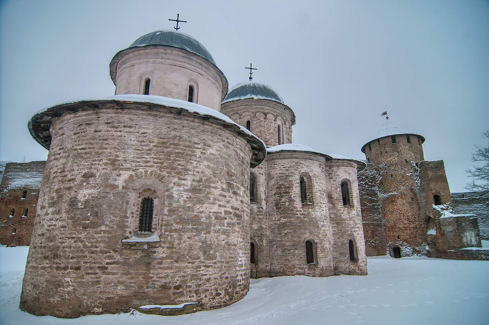 Churches inside Ivan Gorod Fortress. Leningrad Region, Russia