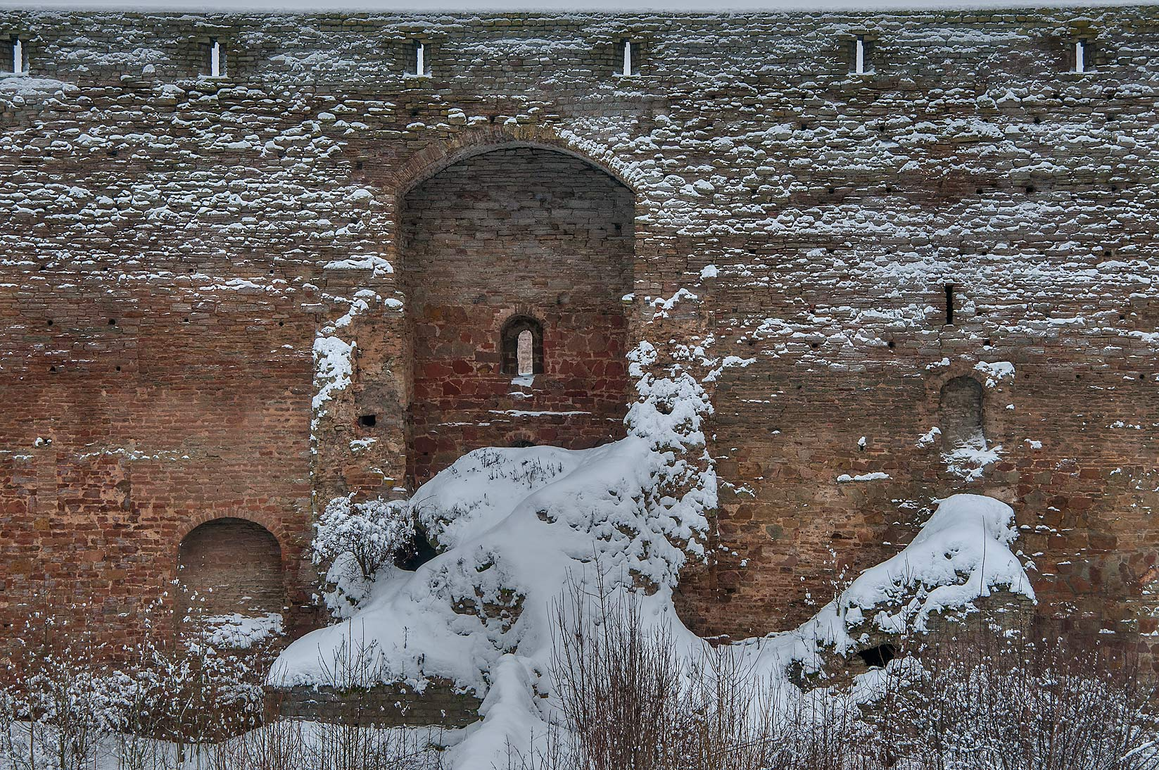 Ruins inside Ivan Gorod Fortress, view from walls. Leningrad Region, Russia