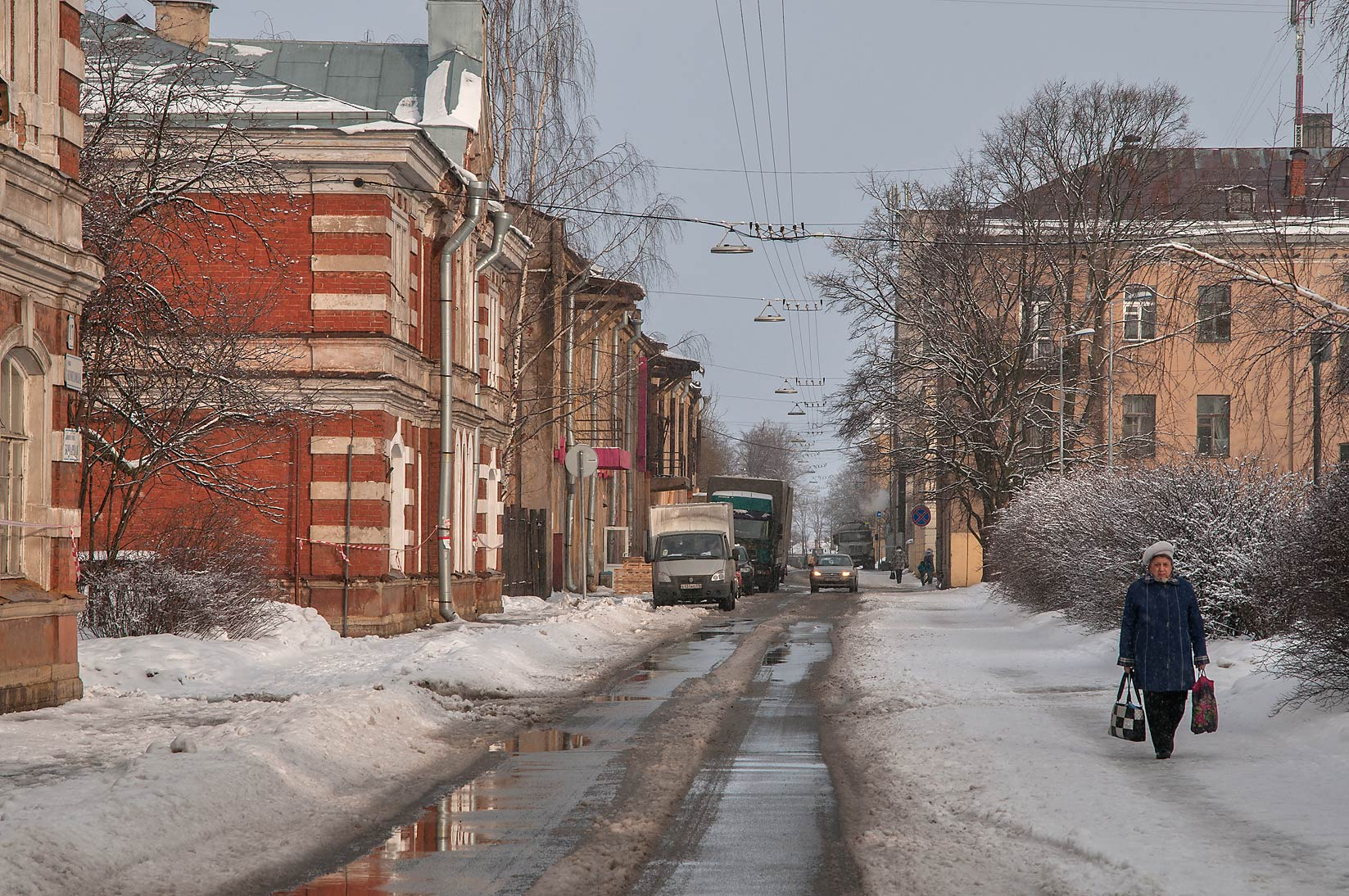 Komsomola St. in snow. Kronstadt (part of St.Petersburg), Russia