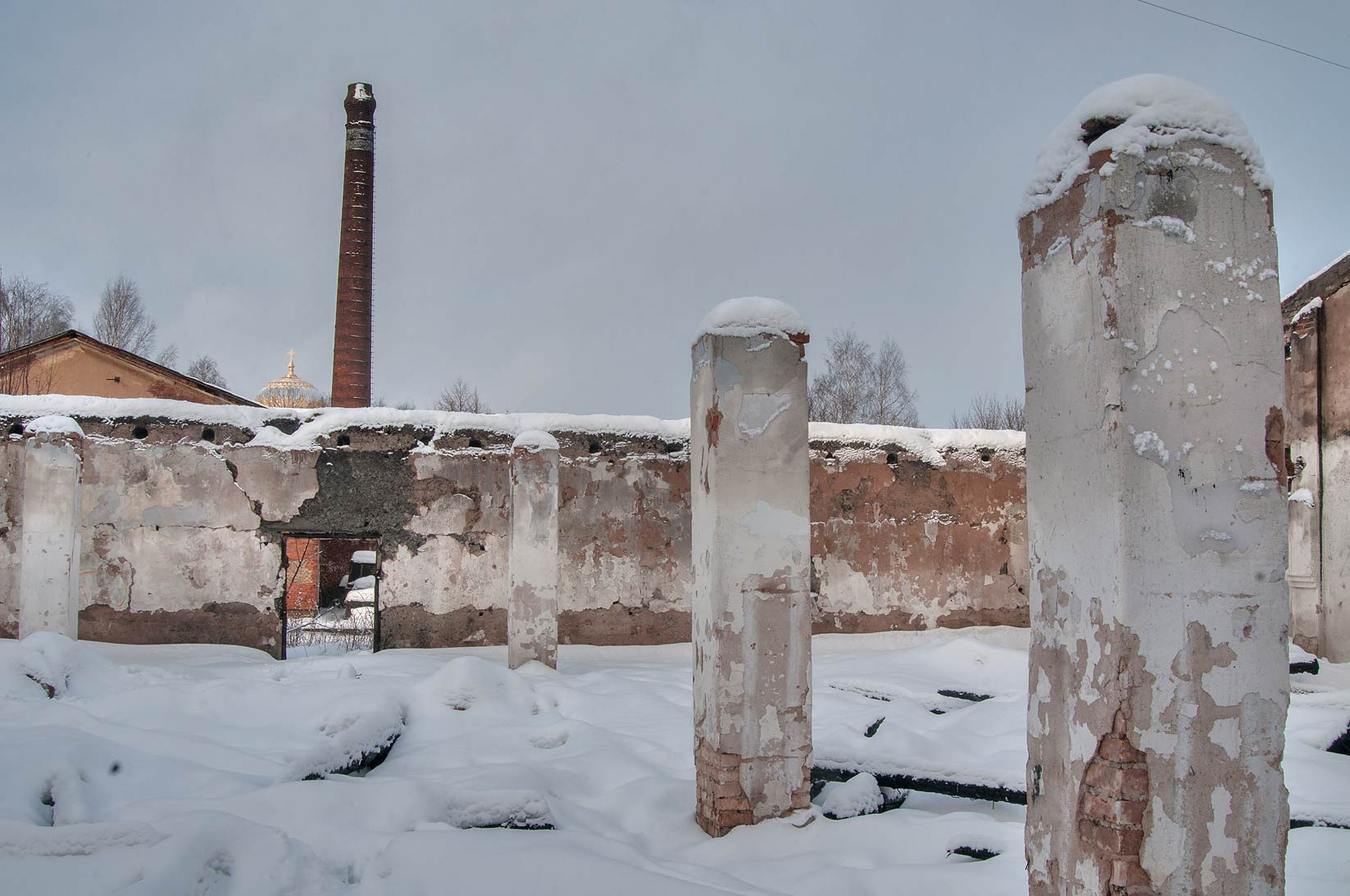 Burnt barracks at Komsomola St.. Kronstadt (part of St.Petersburg), Russia