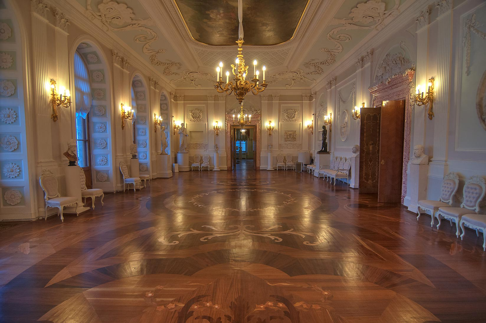 Spacious hall in Gatchina Palace. Gatchina, suburb of St.Petersburg, Russia