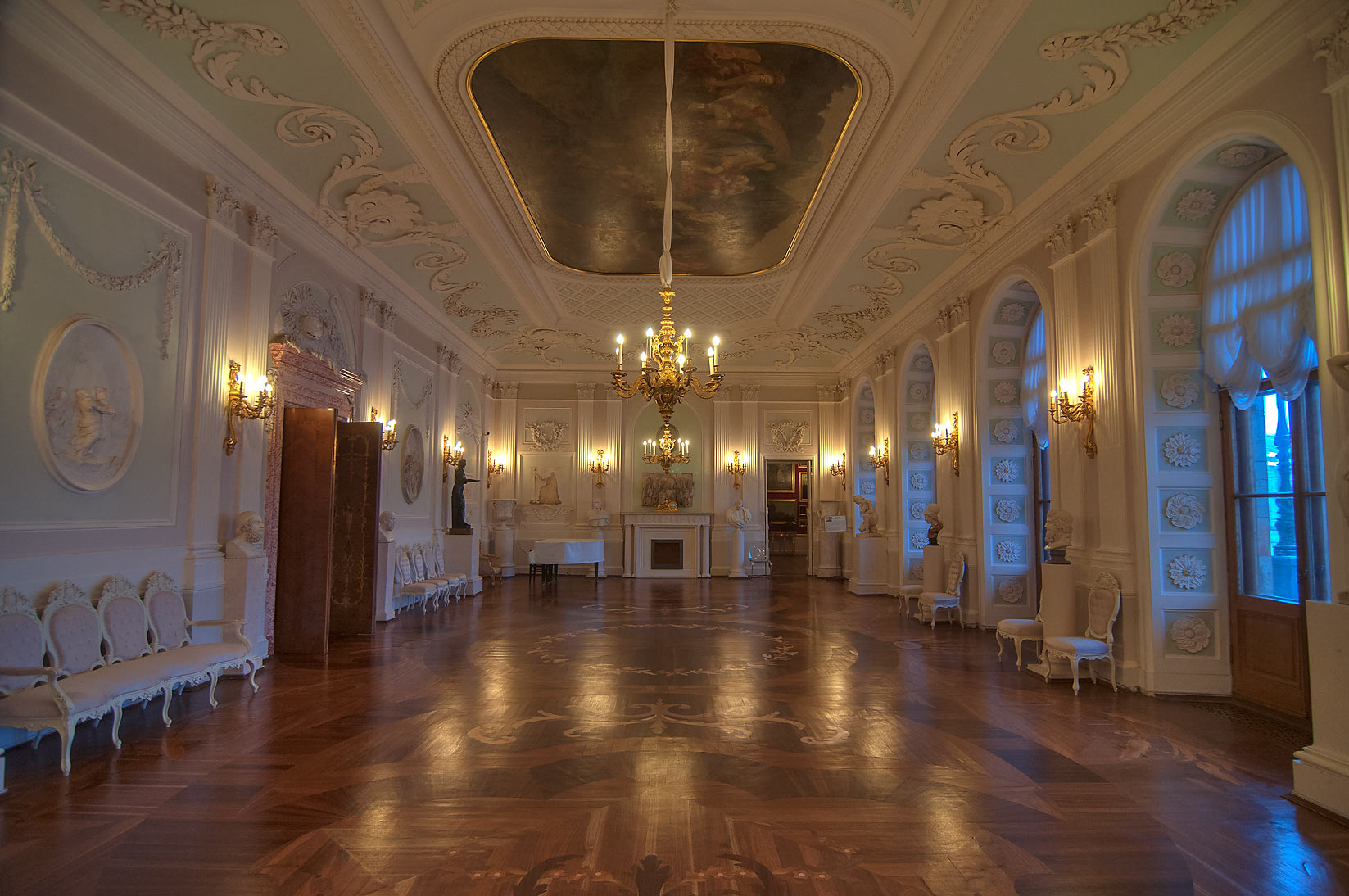 Decorated hall in Gatchina Palace. Gatchina, suburb of St.Petersburg, Russia