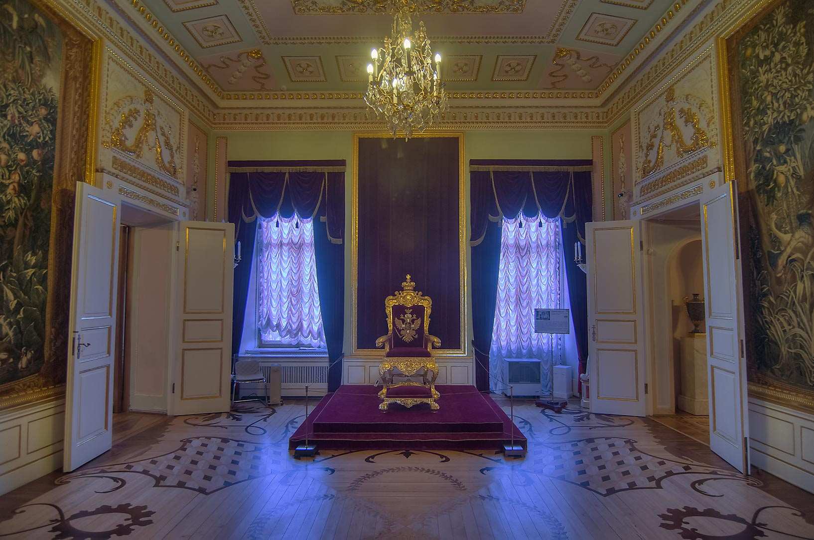 Throne hall in Gatchina Palace. Gatchina, suburb of St.Petersburg, Russia