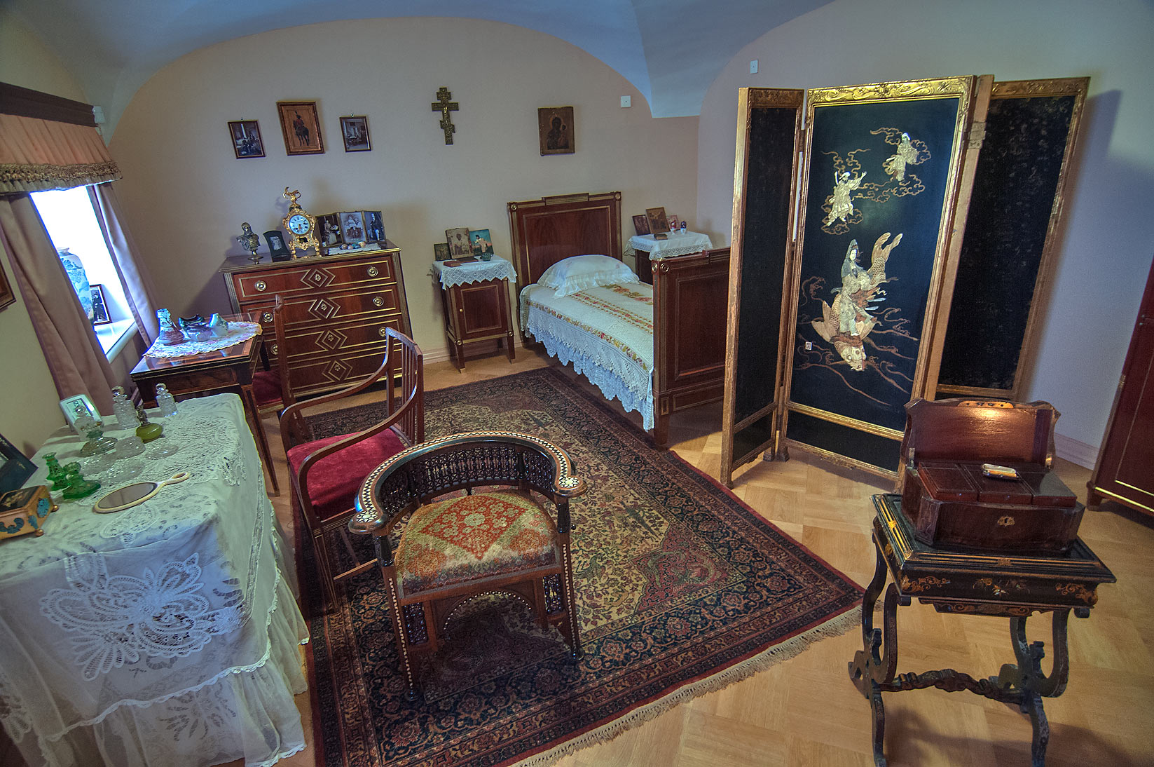 Small bedroom in Gatchina Palace. Gatchina, suburb of St.Petersburg, Russia