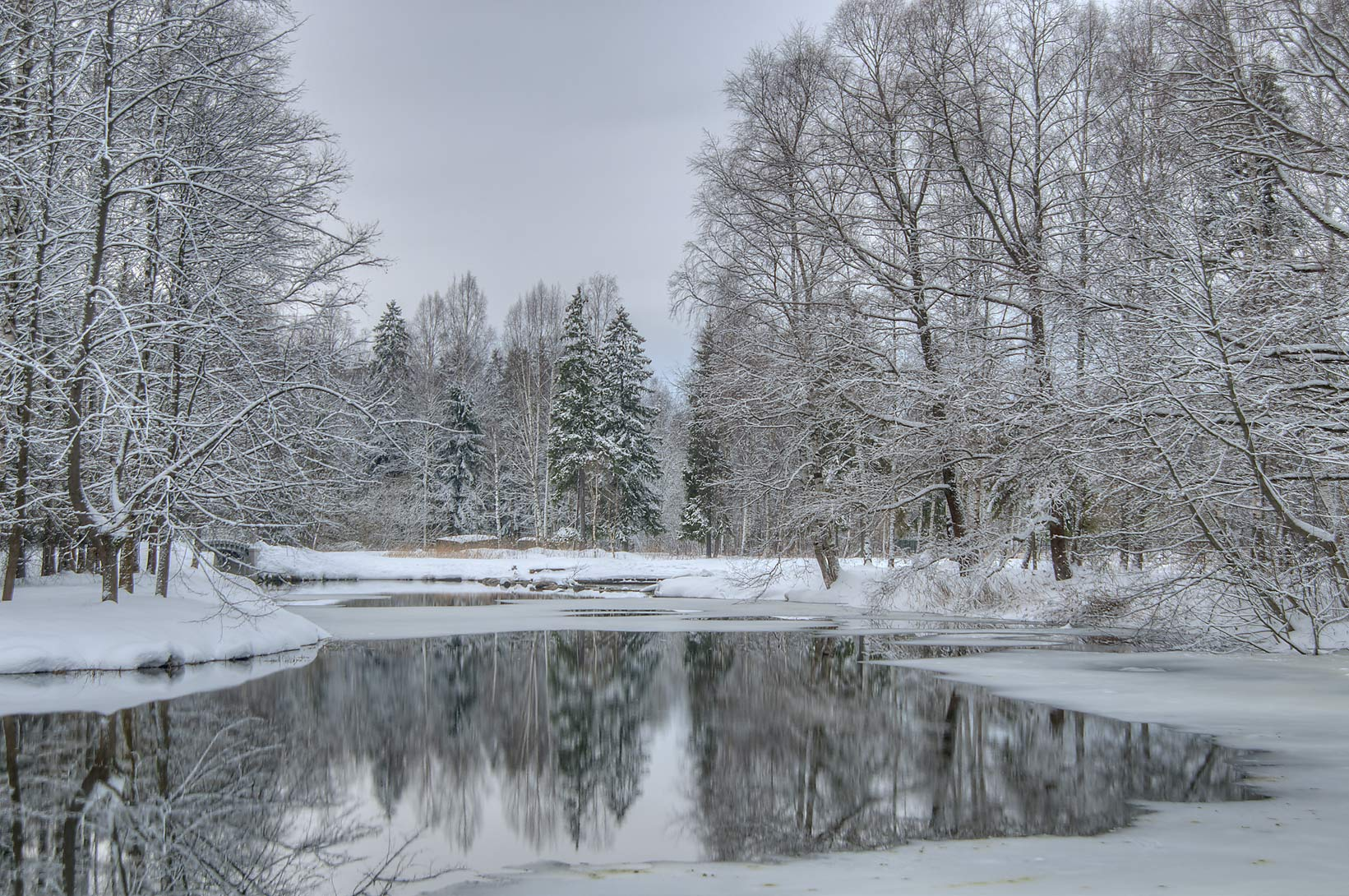Pond in west end of Beloe Lake in the park of Gatchina, suburb of St.Petersburg, Russia
