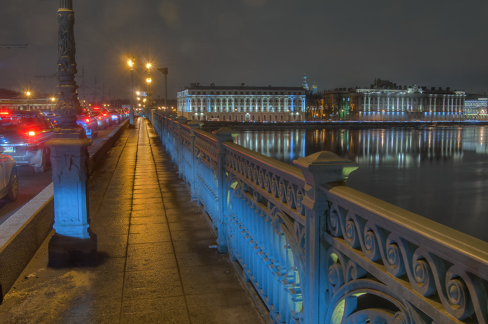 Troitsky Bridge across Neva River at evening. St.Petersburg, Russia