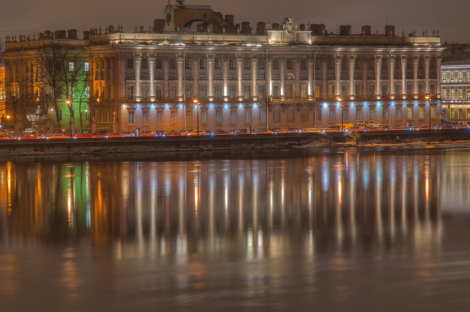 Petrovskaya Embankment from Troitsky Bridge...at evening. St.Petersburg, Russia