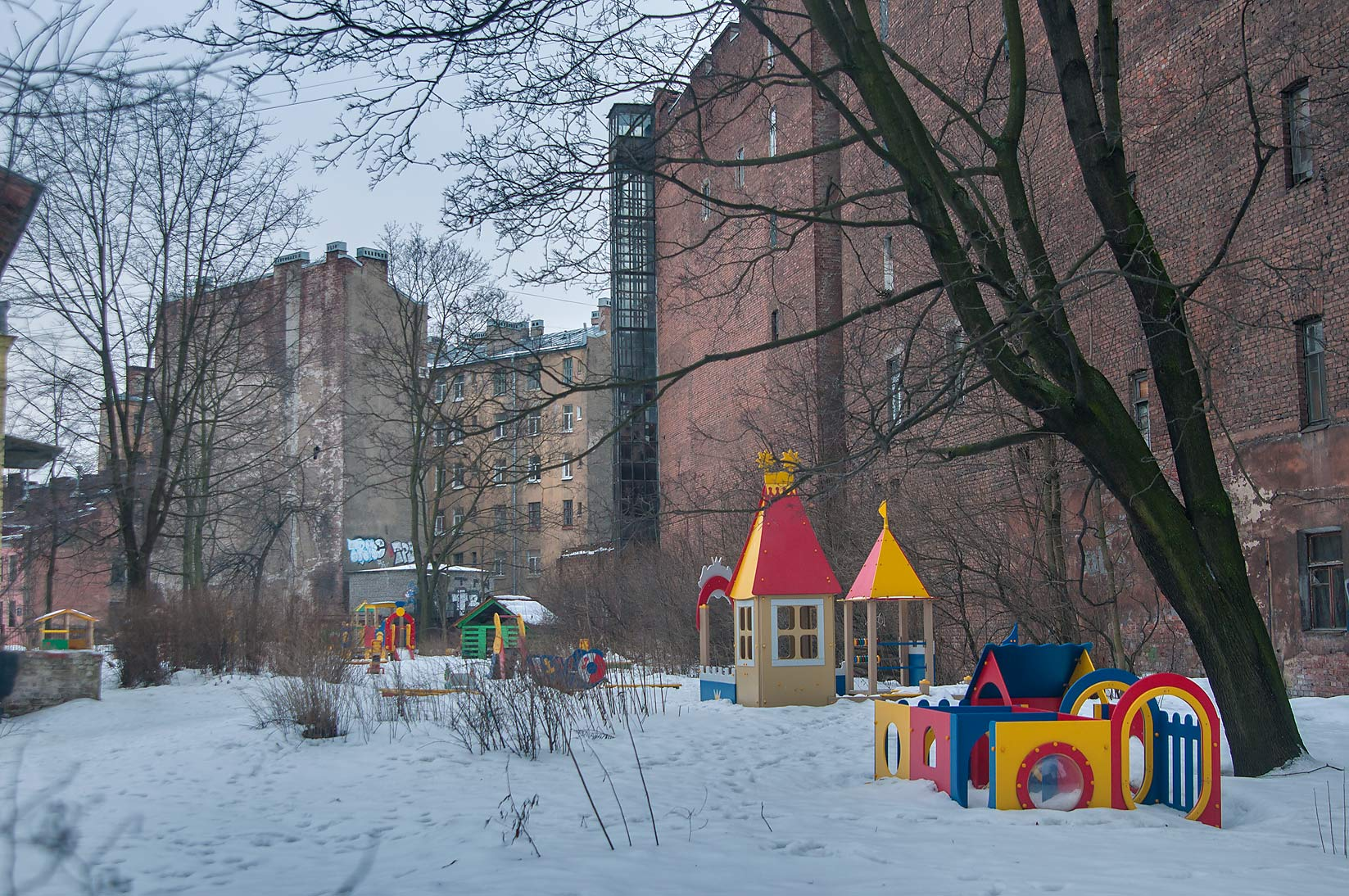 Children's playground on Blagoeva St. in...neighborhood. St.Petersburg, Russia