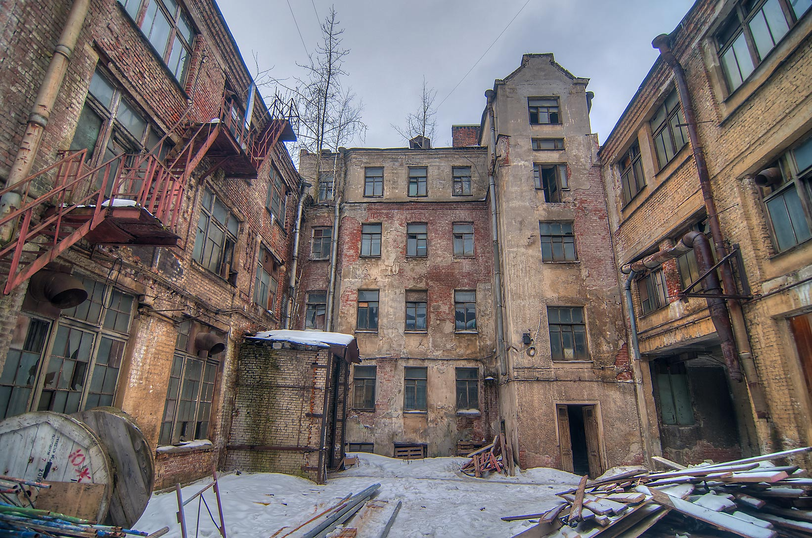 Old yard in Petrogradskaya Storona neighborhood. St.Petersburg, Russia