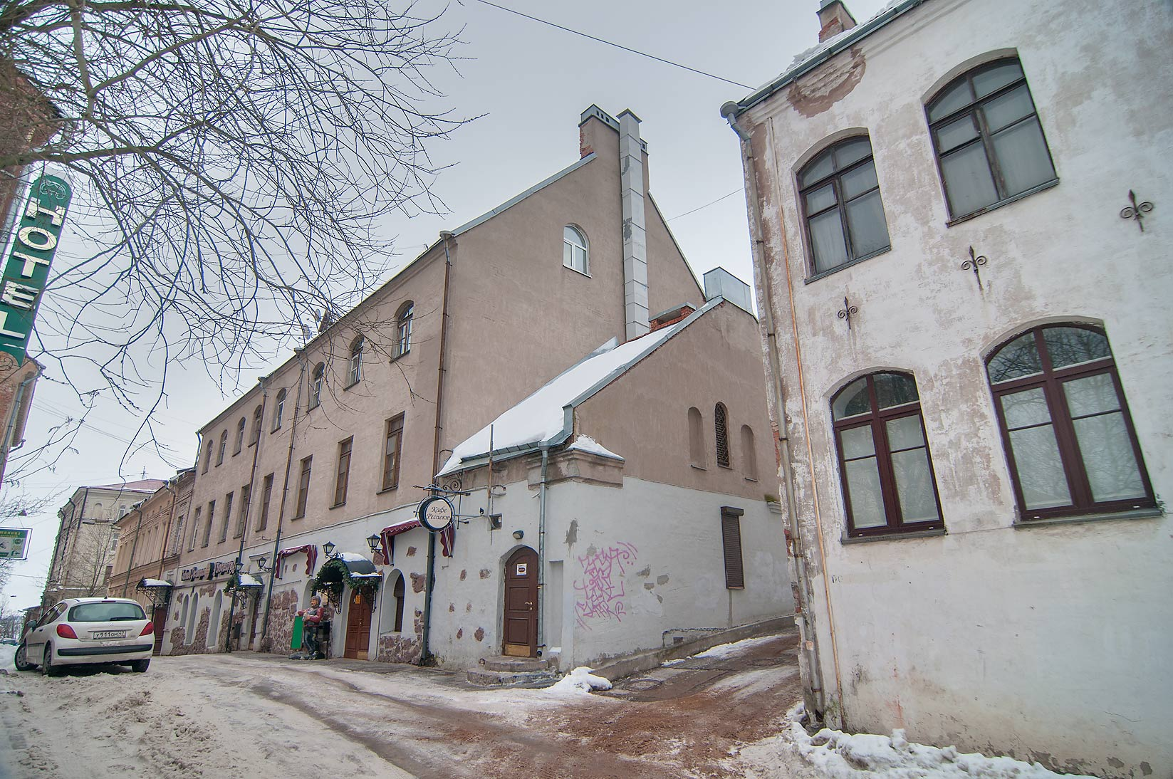 North-east part of Podgornaya St.. Vyborg, Russia
