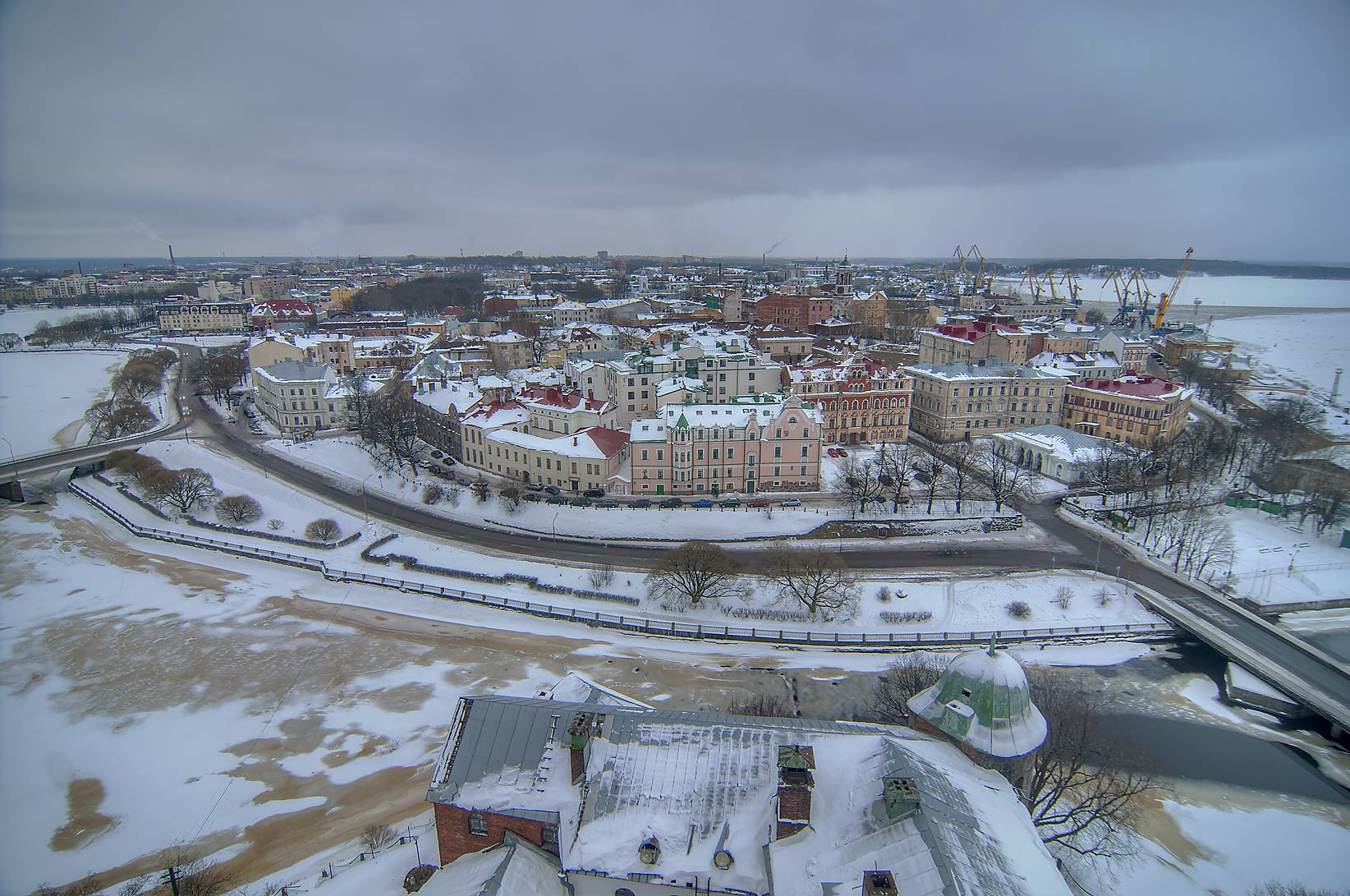 Old city from St. Olaf Tower of Vyborg Castle. Vyborg, Russia
