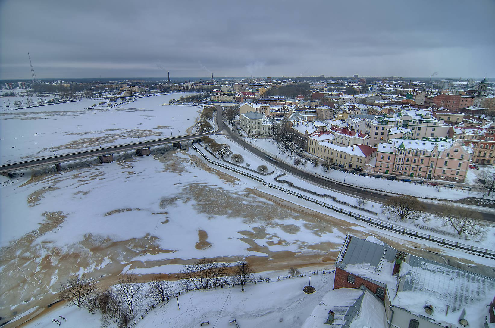 Old city and North Harbor from St. Olaf Tower of Vyborg Castle. Vyborg, Russia