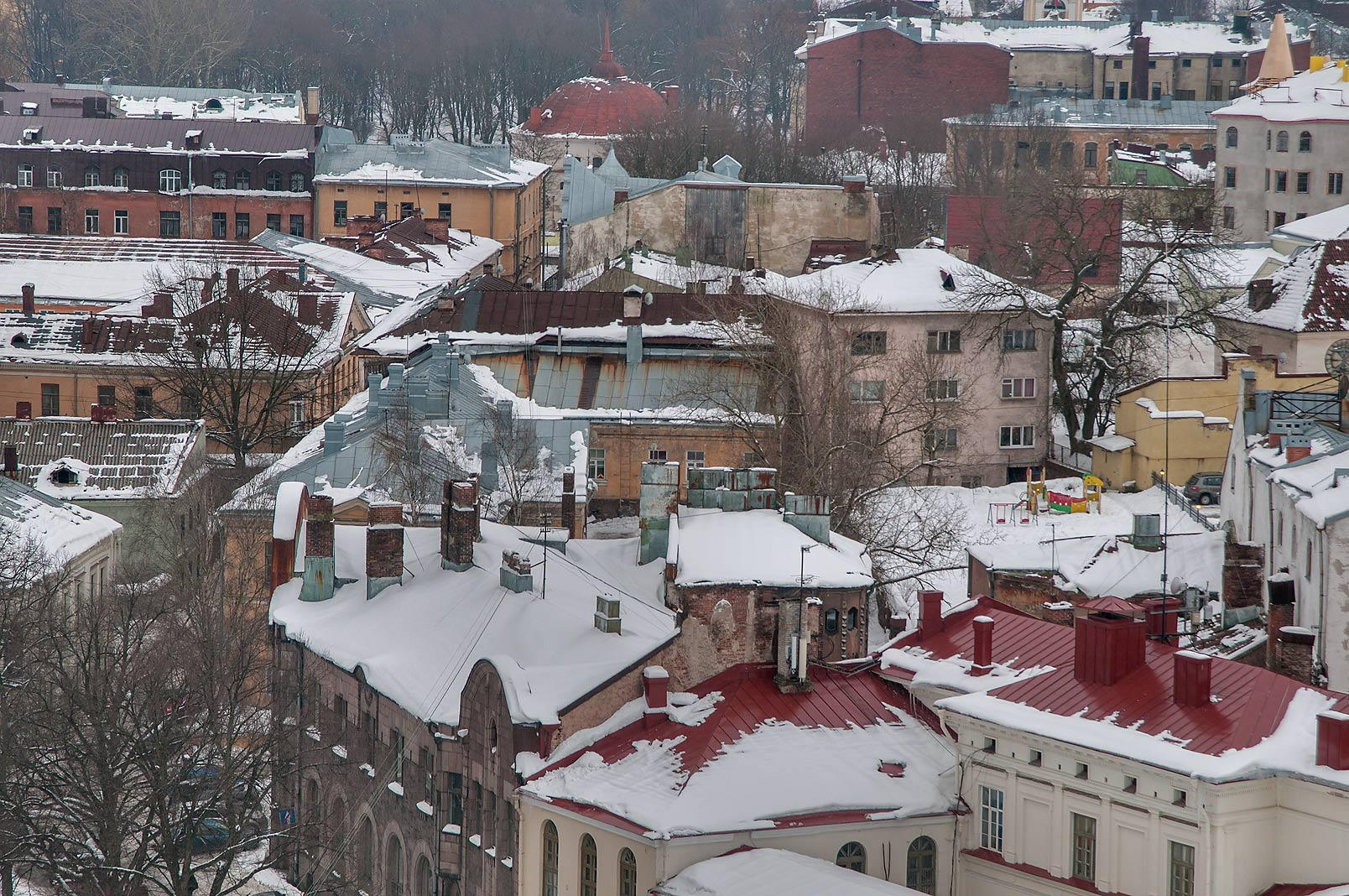 Roofs of Old City from St. Olaf Tower of Vyborg Castle. Vyborg, Russia
