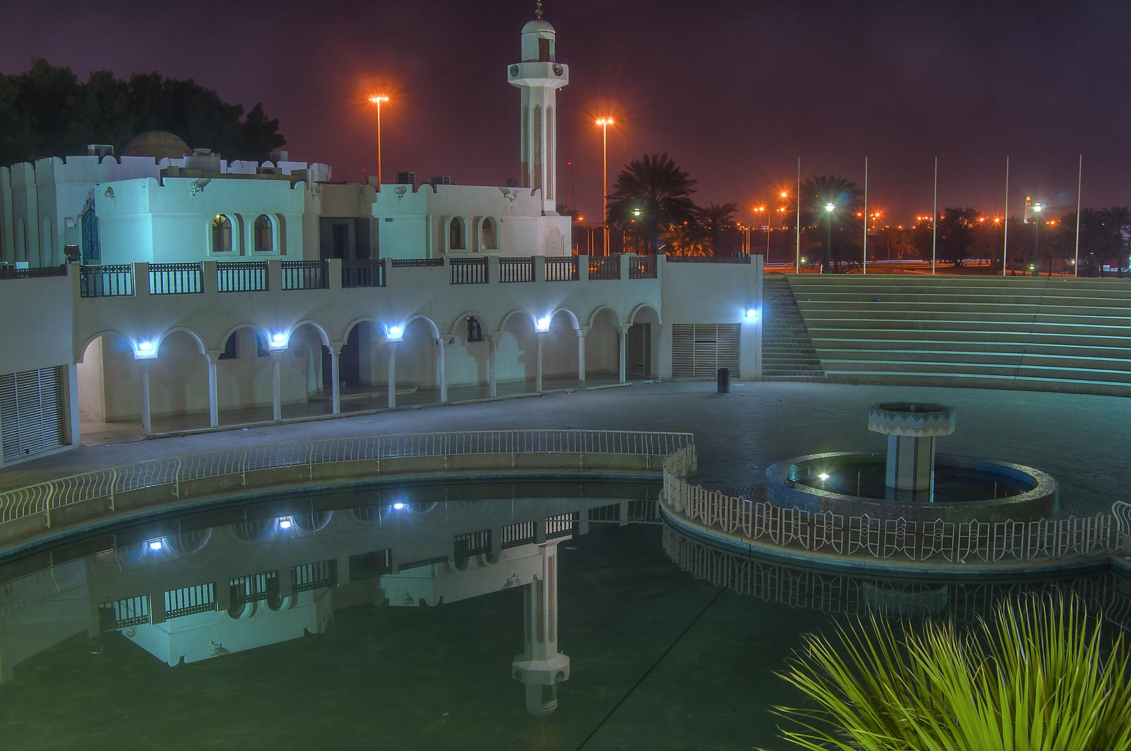 Mosque and a pool of Al Bidda Park. Doha, Qatar