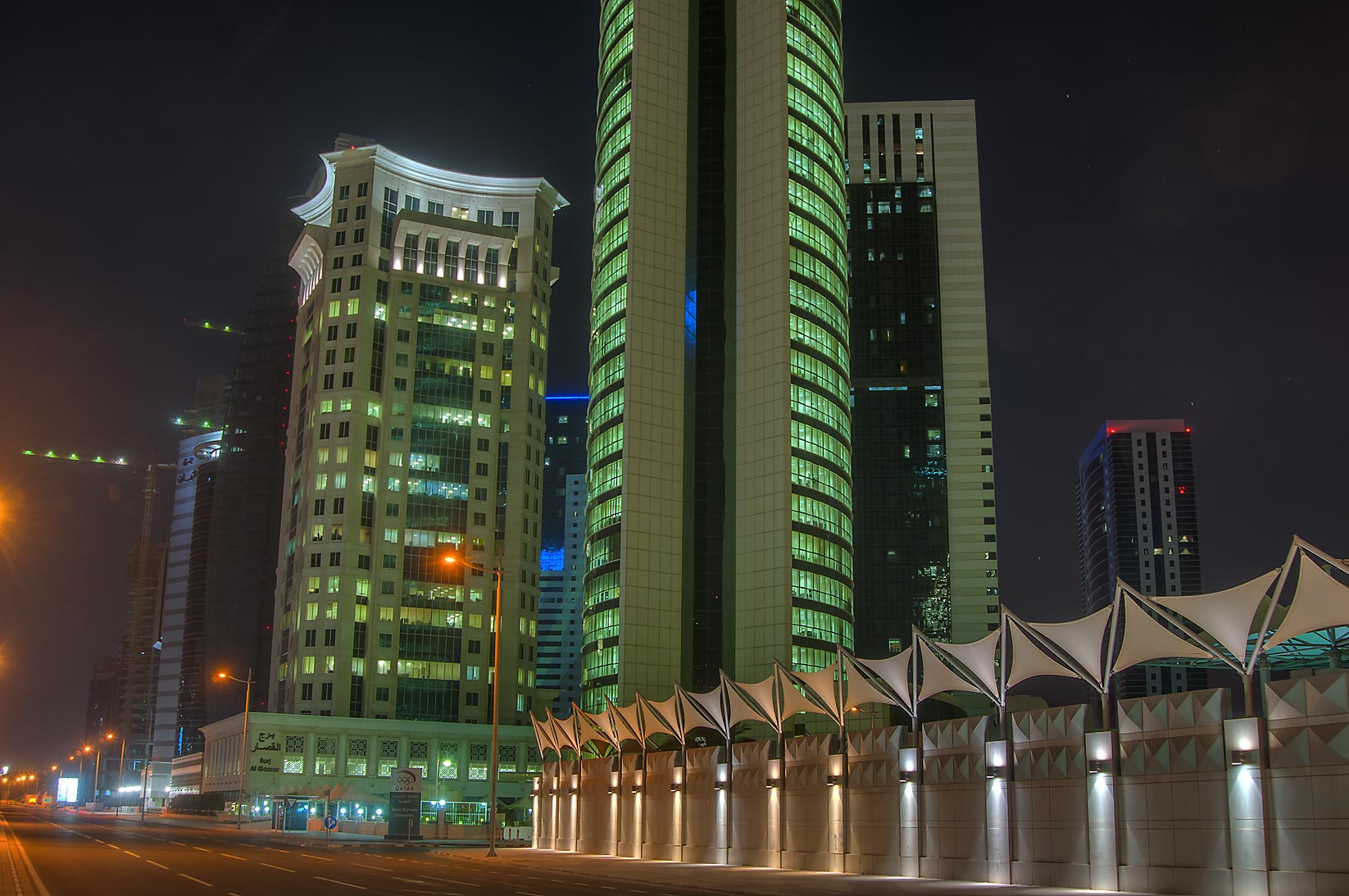 Al Qassar and Olympic towers in West Bay. Doha, Qatar