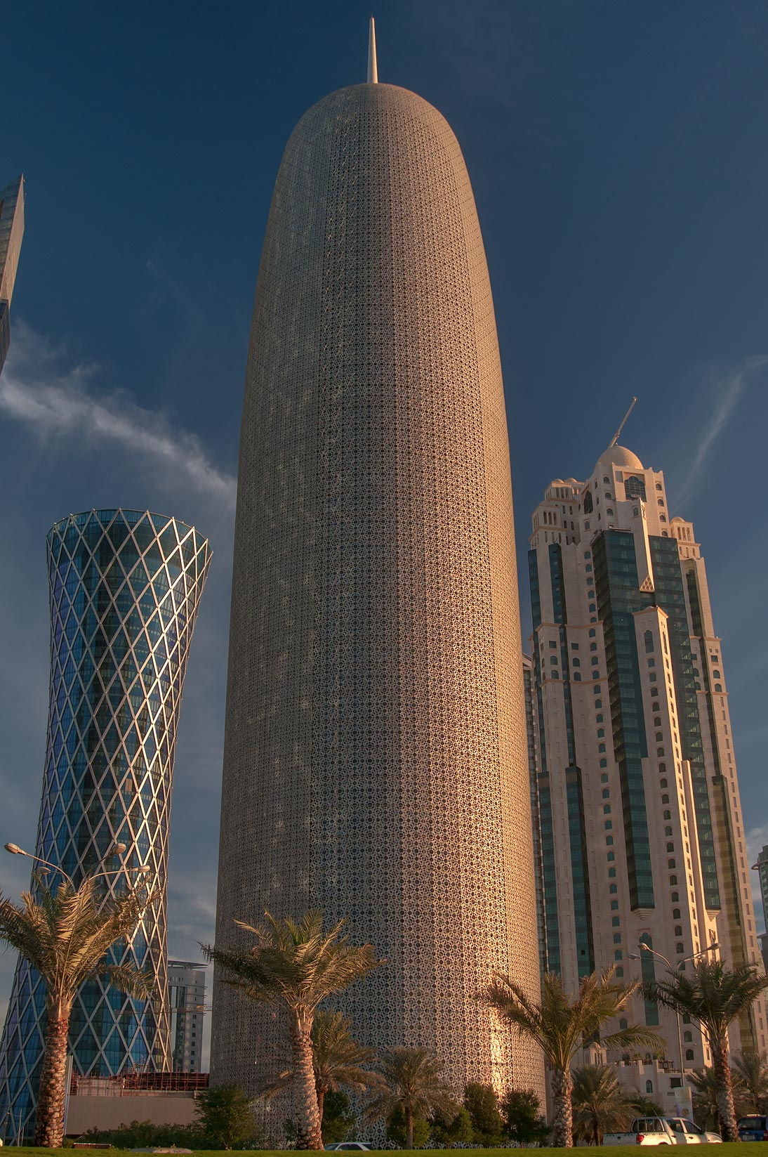 Tornado and Burj Qatar towers in West Bay at morning. Doha, Qatar