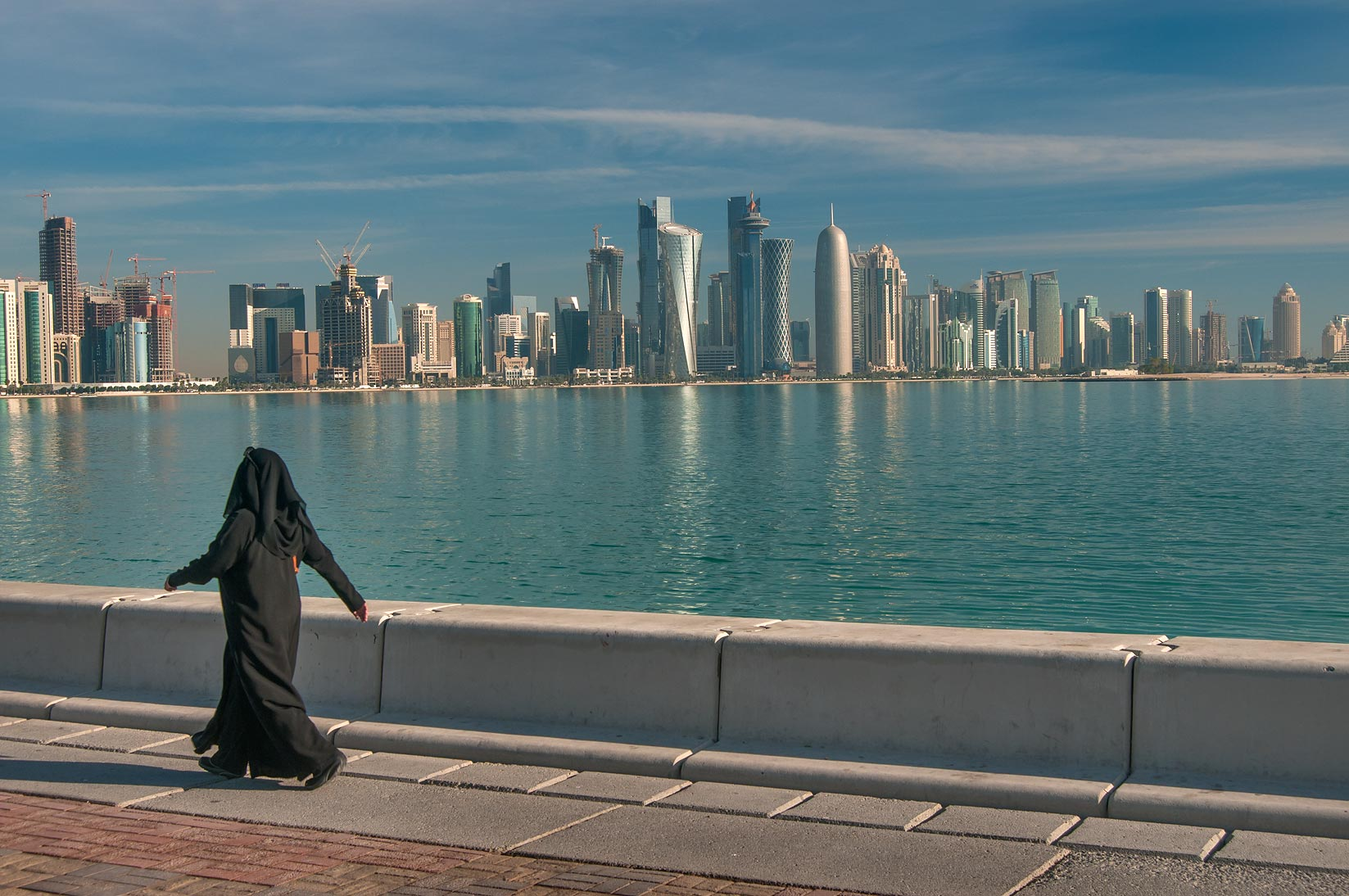 Jogging on Corniche at morning. Doha, Qatar